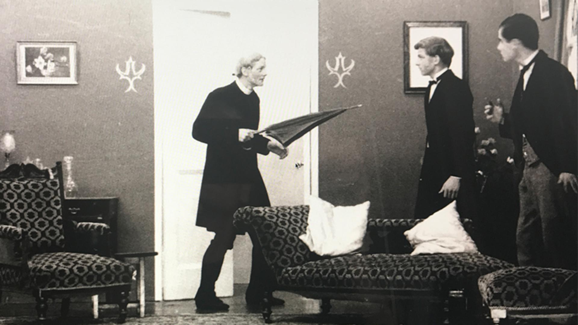 James Dyson on stage dressed in Victorian attire
