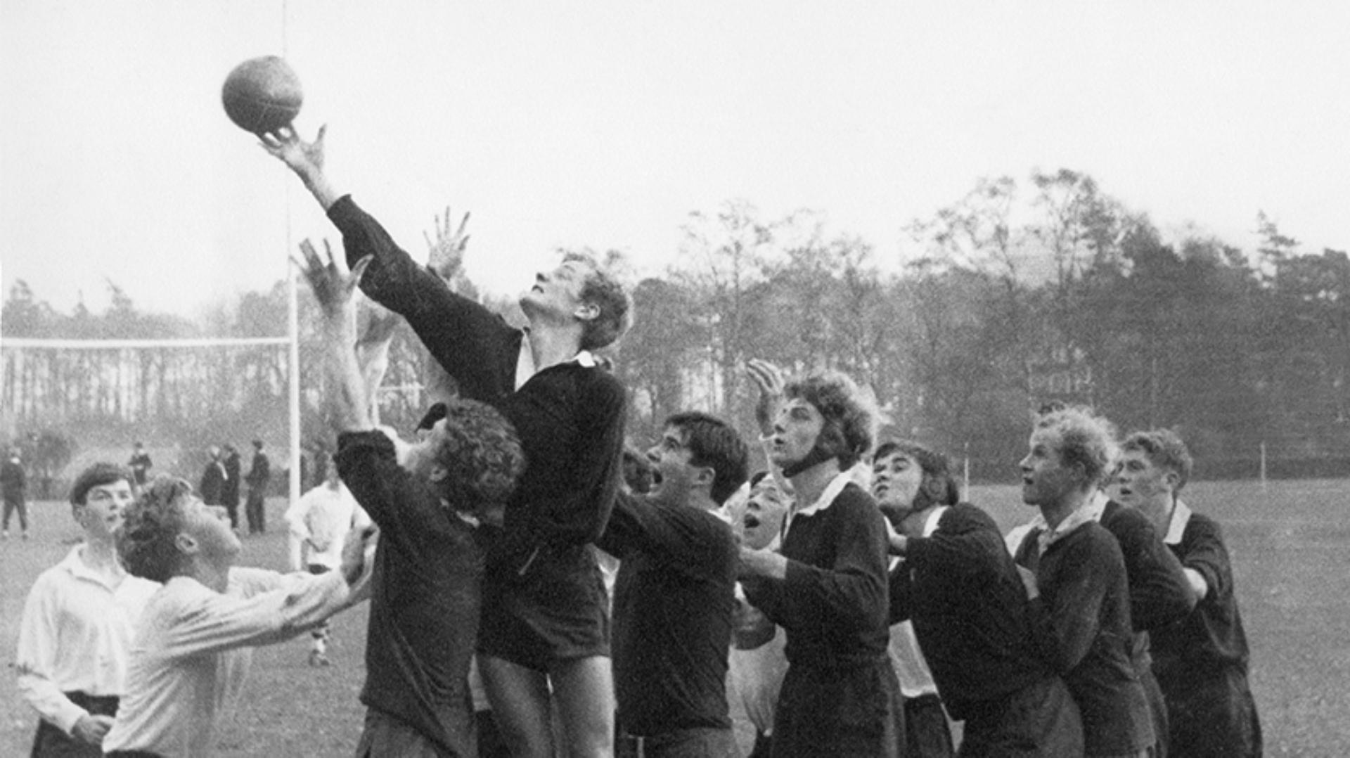 James Dyson reaches for the ball in a rugby lineout