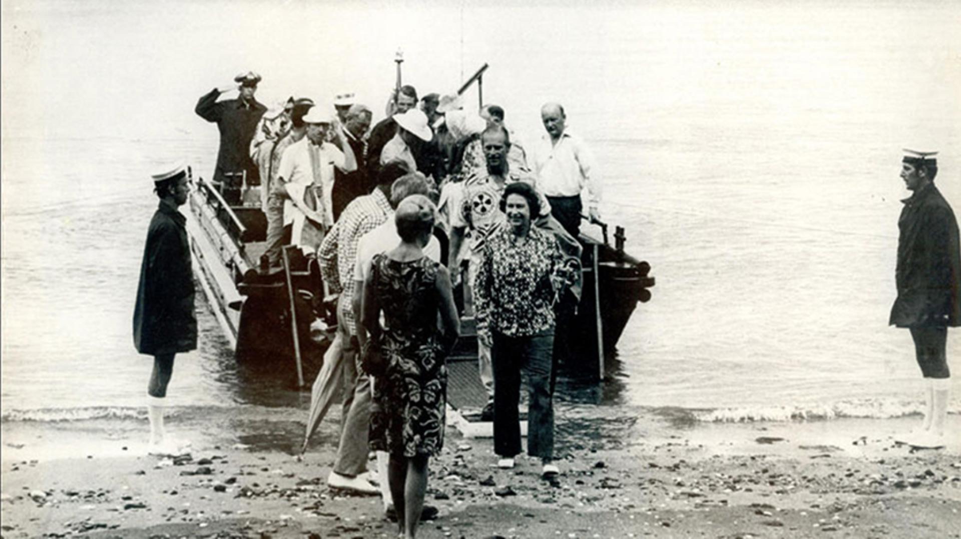 Queen Elizabeth II and the Duke of Edinburgh disembarking their Sea Truck