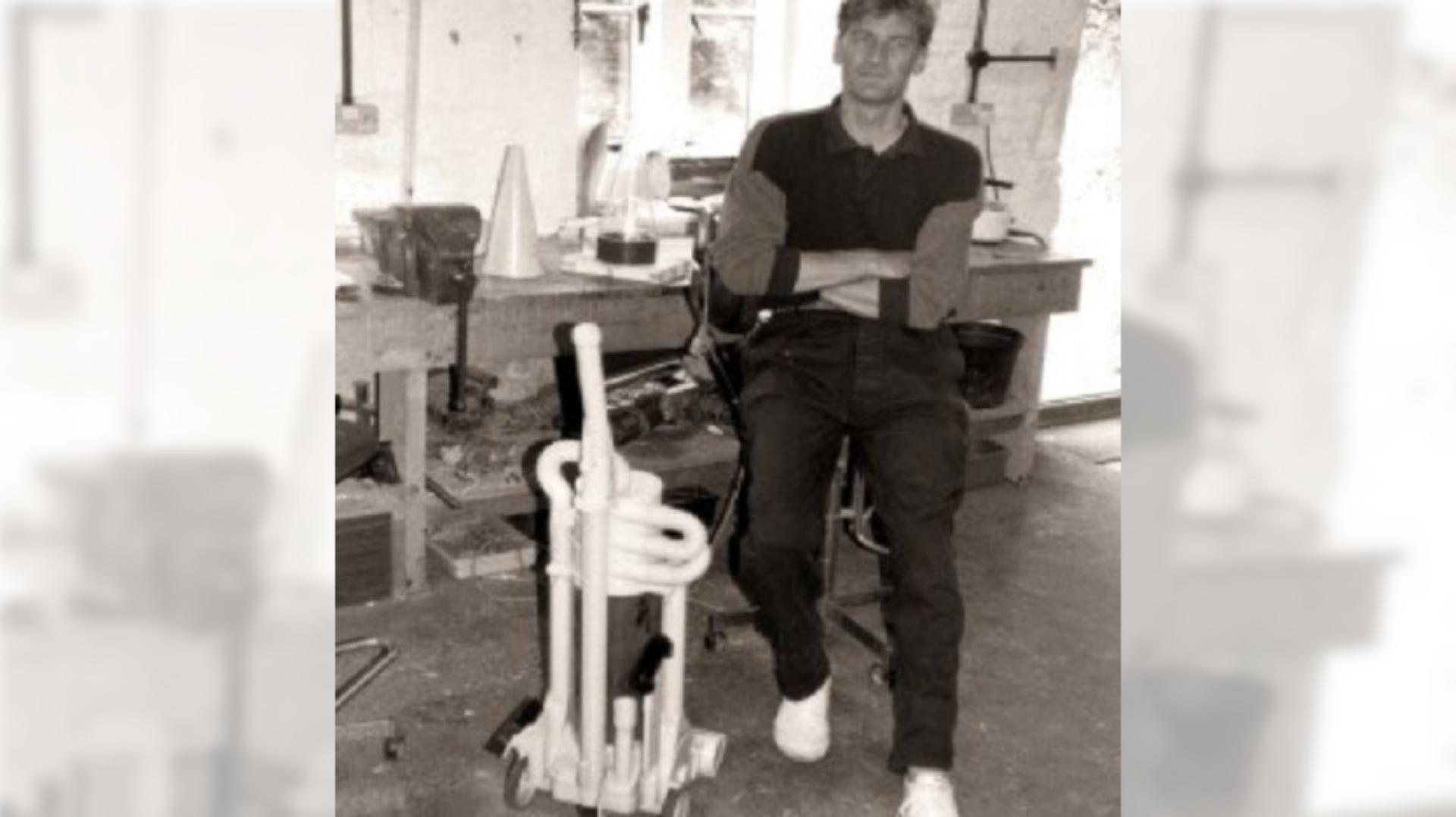 James Dyson standing next to a Kleeneze Rotork Cyclon