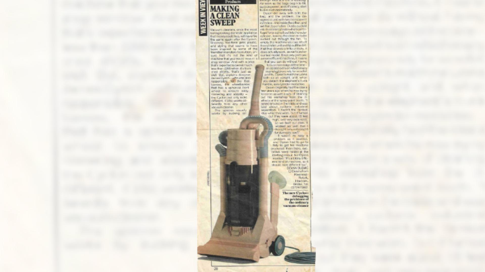 Press clipping with a review of the Kleeneze Rotork Cyclon