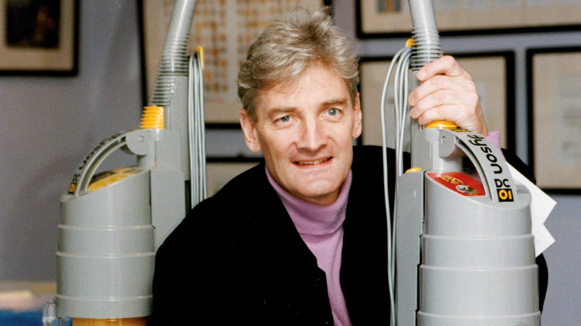 James Dyson pictured with two DC01s