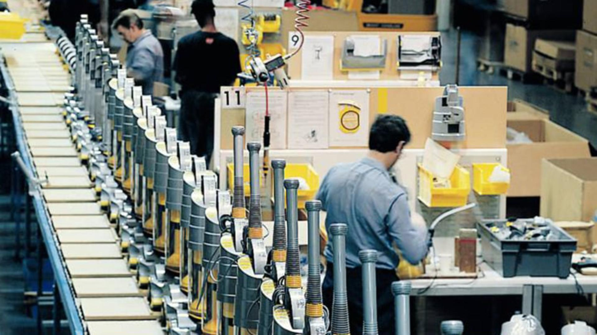 DCO1 production line showing Dyson machines and the packaging