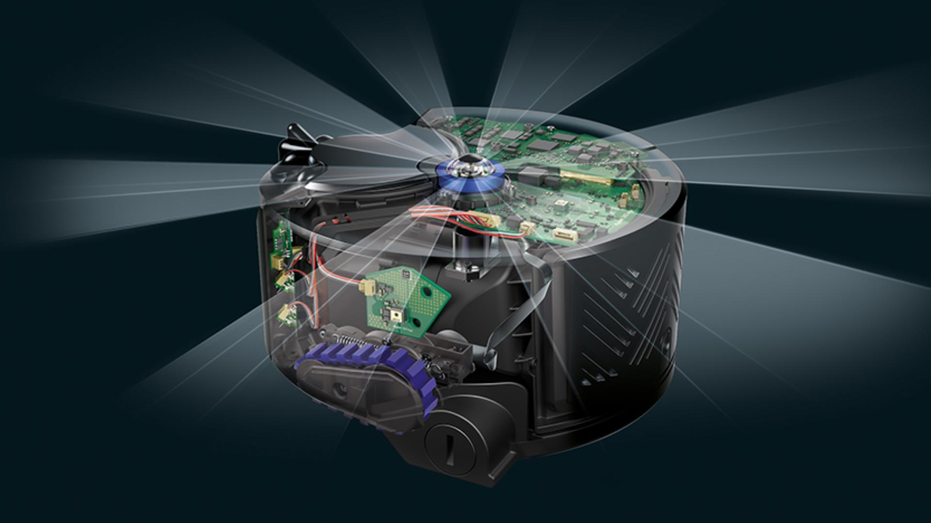 Side view of Dyson 360 Eye robot vacuum