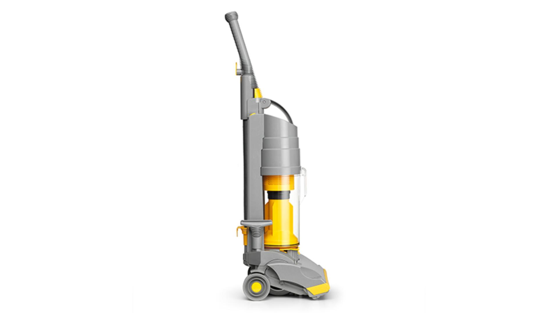 Side view of DC01 upright vacuum, yellow and grey