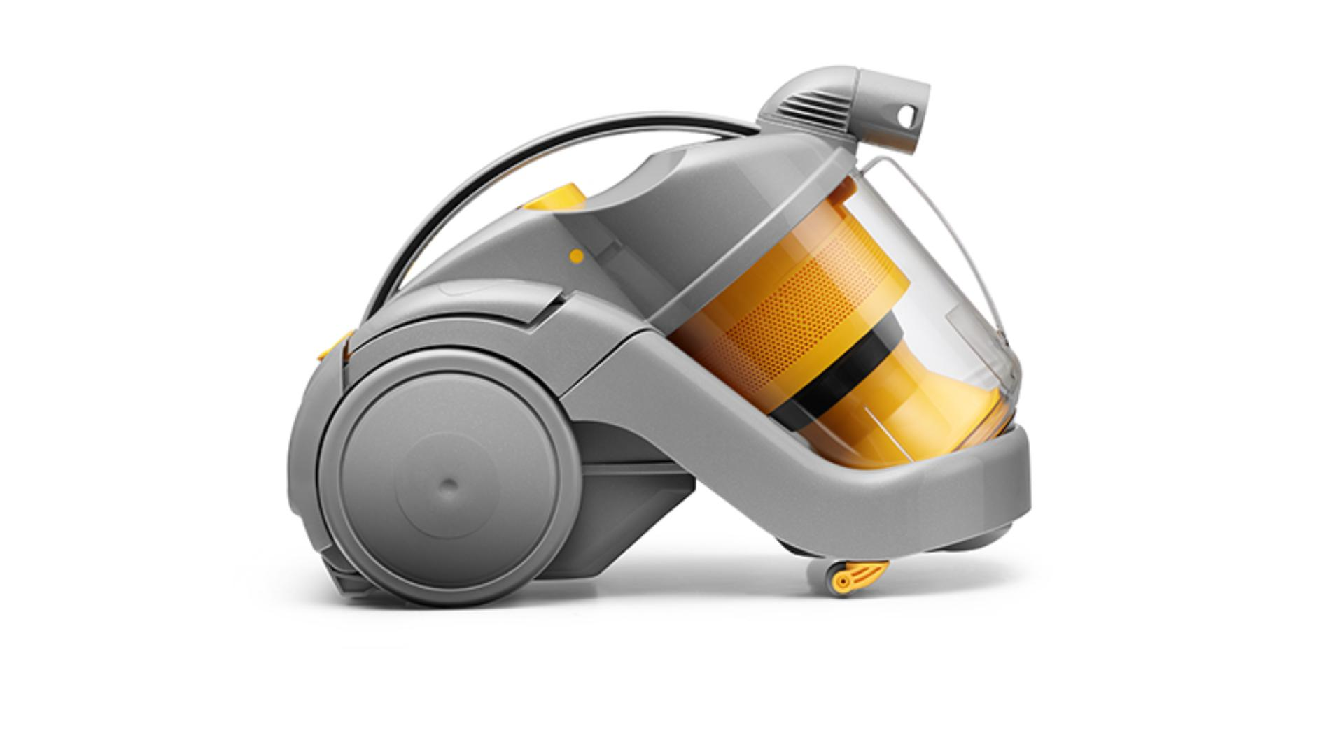 Side view of DC02 cylinder vacuum, yellow and grey