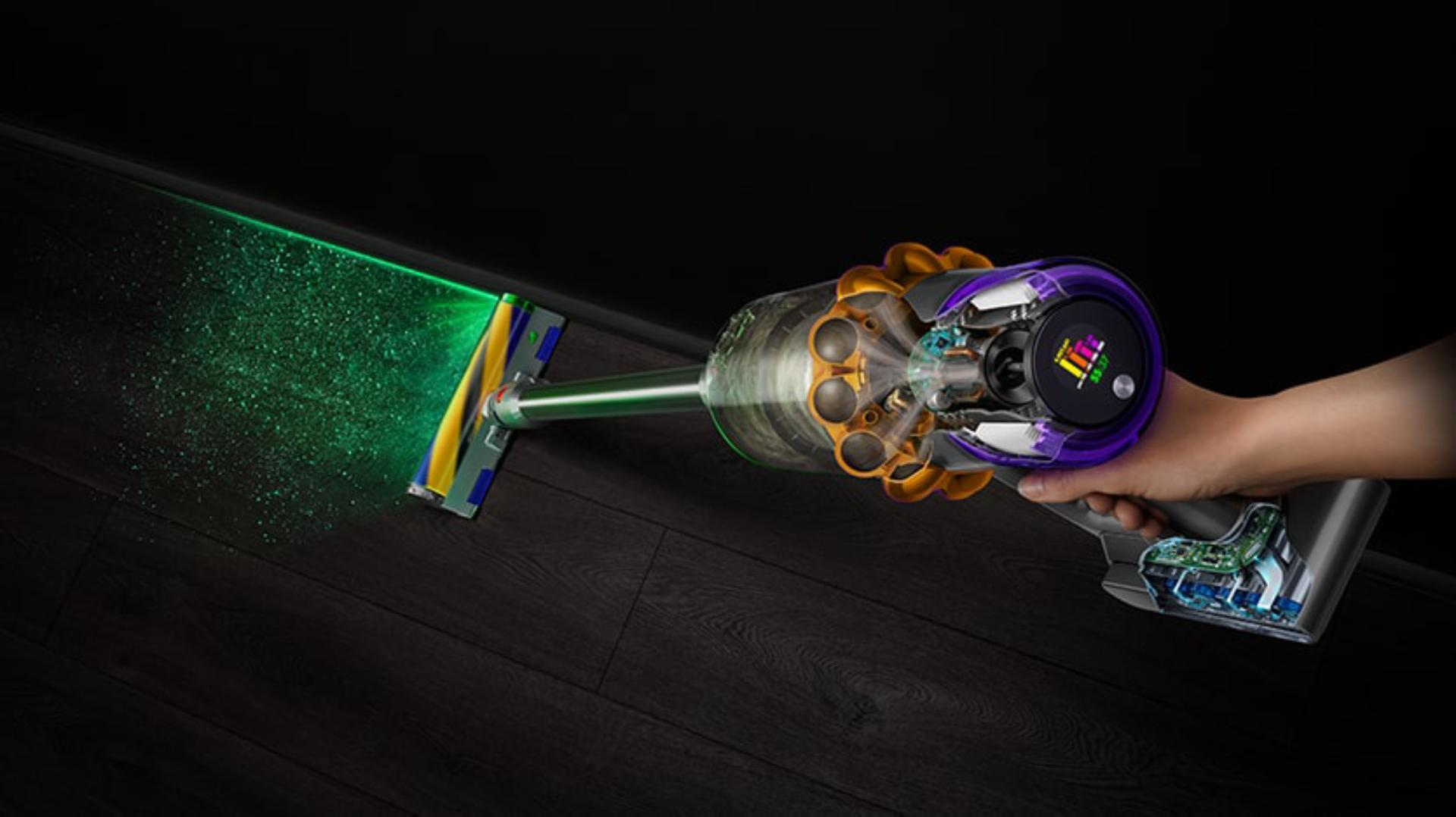 Aerial view of Dyson V15 vacuum showing the LCD screen