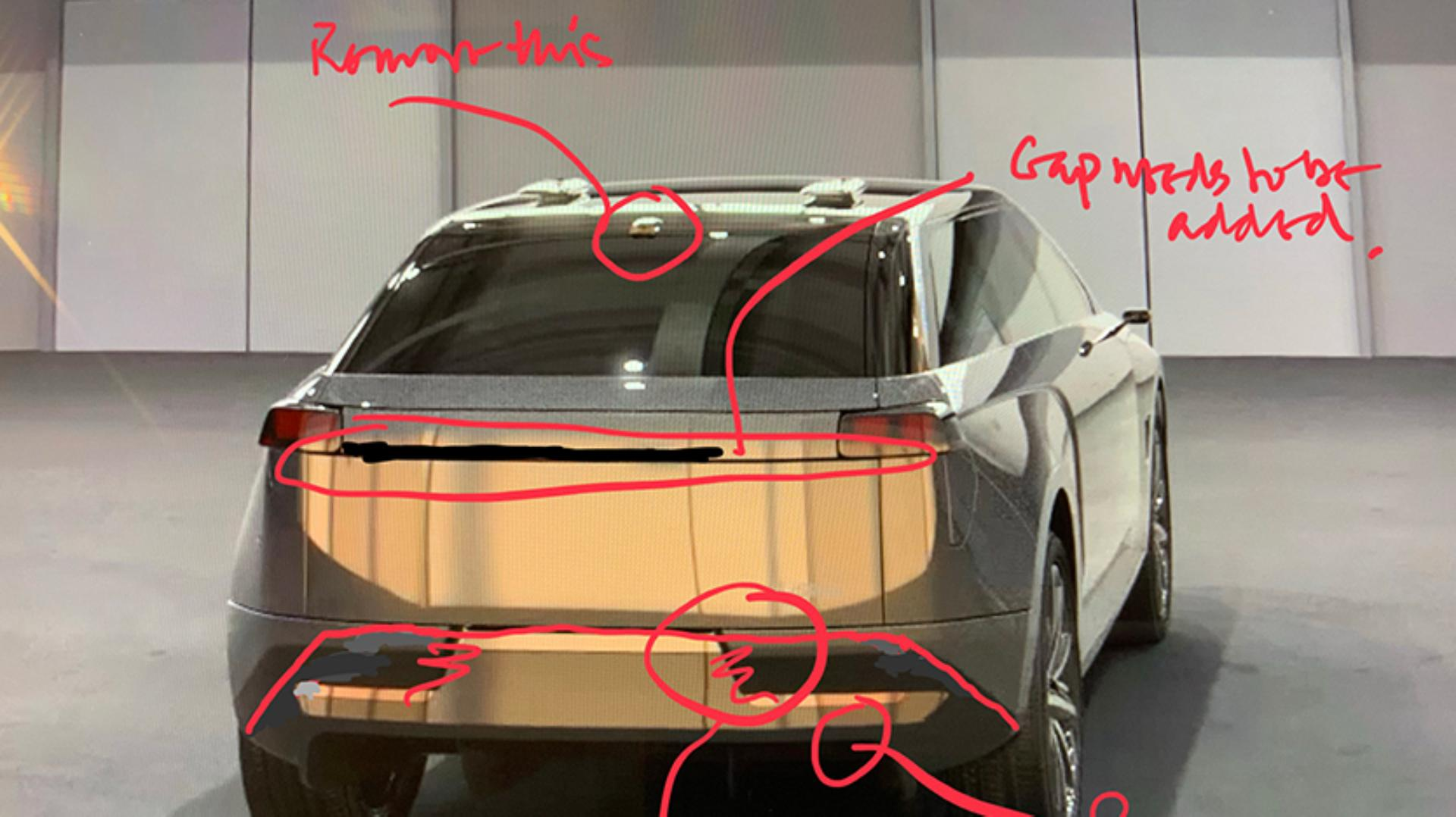 Car with handwritten notes and comments from James Dyson