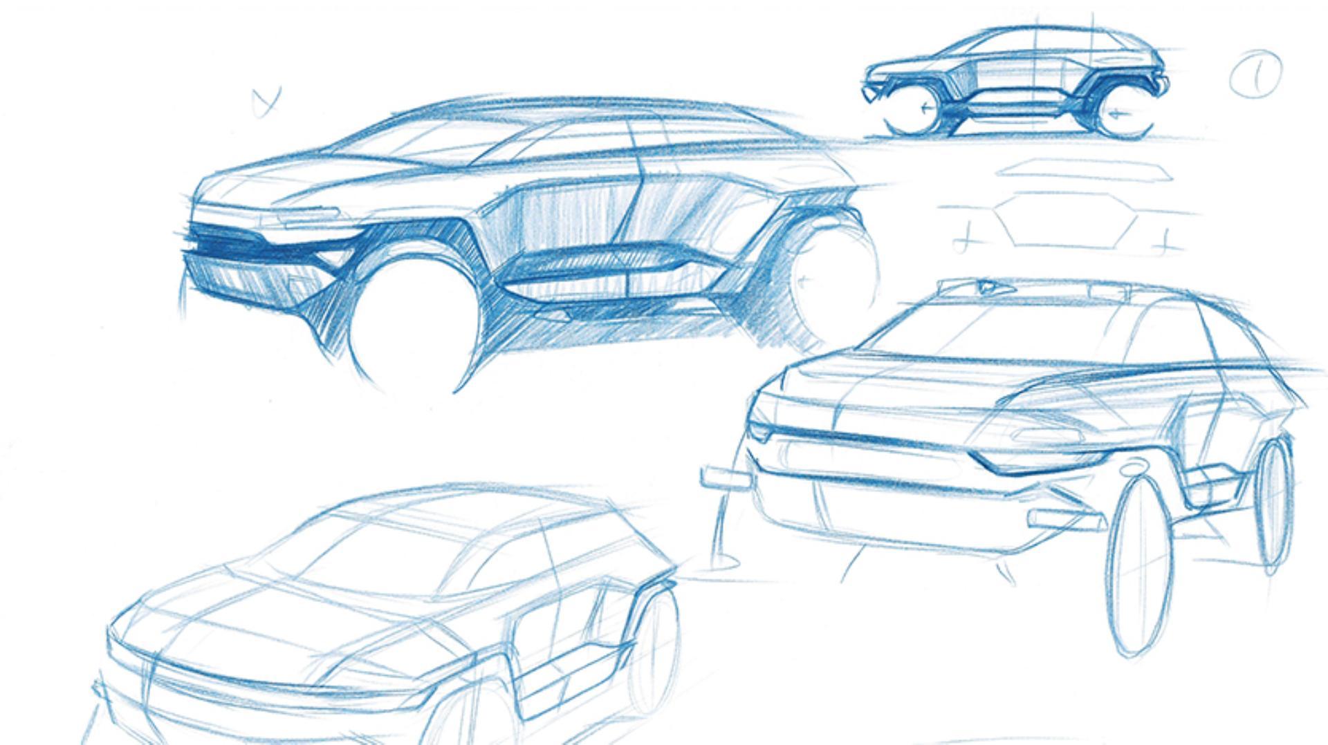 Sketch drawings of the car