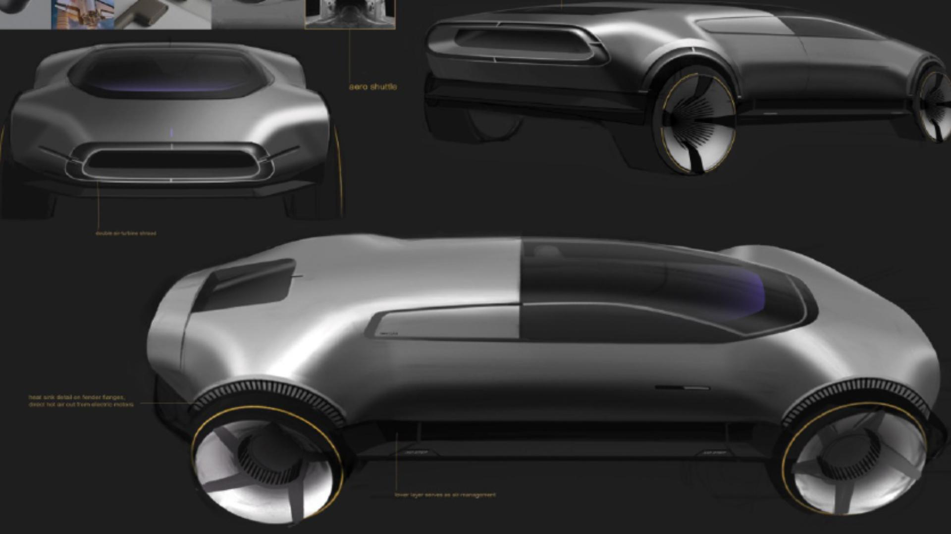 Concept drawings of the Dyson car