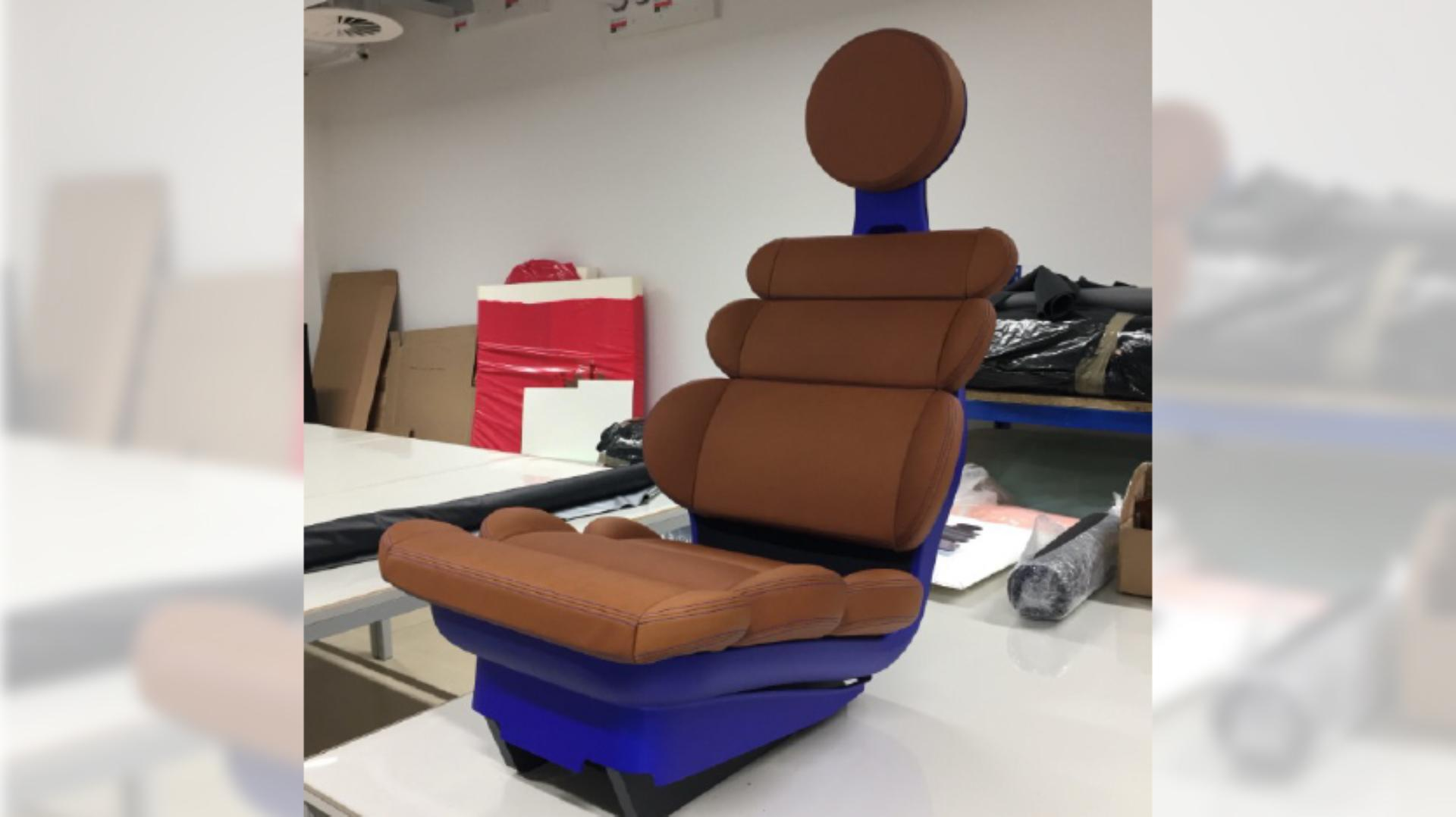 View of the Eames inspired design for the Dyson car seat