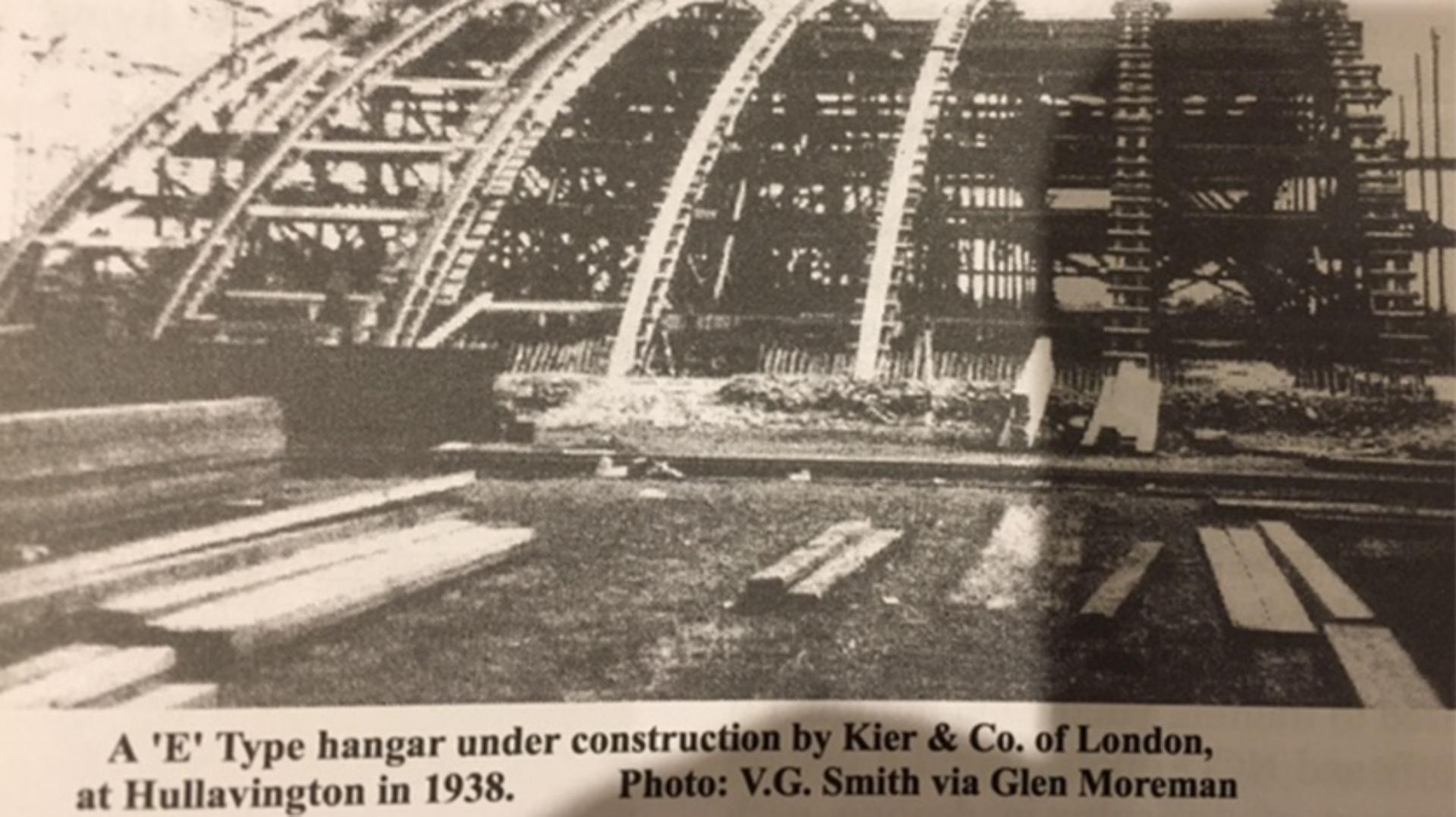 Old photo of Hullavington airfield under construction in 1938