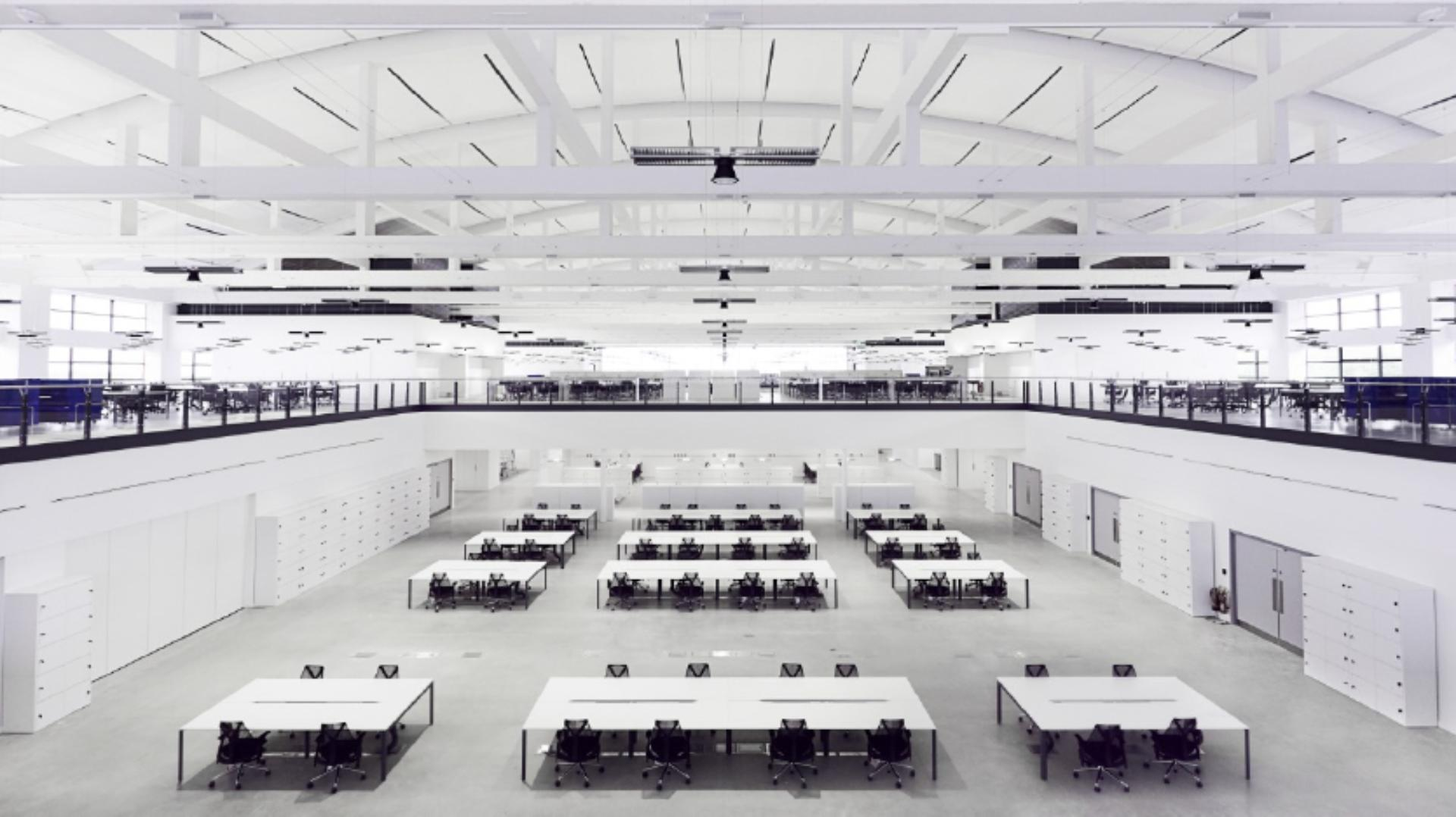 Long interior view of the Dyson office space, Hangar 86