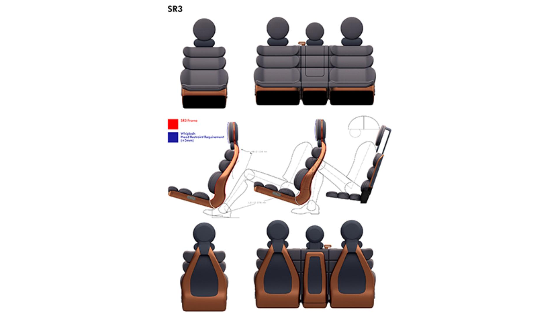 Images of various seat designs for the car