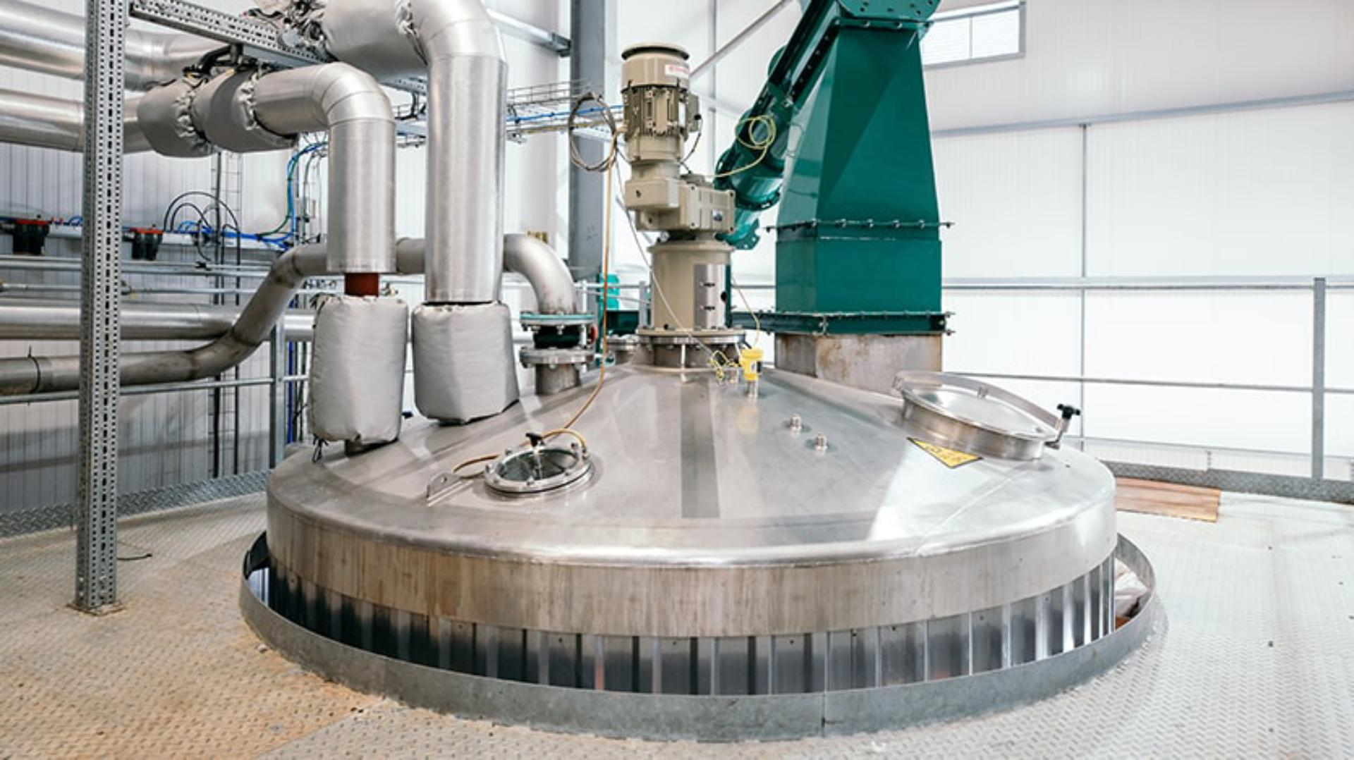 Interior view of the anaerobic digestor machinery