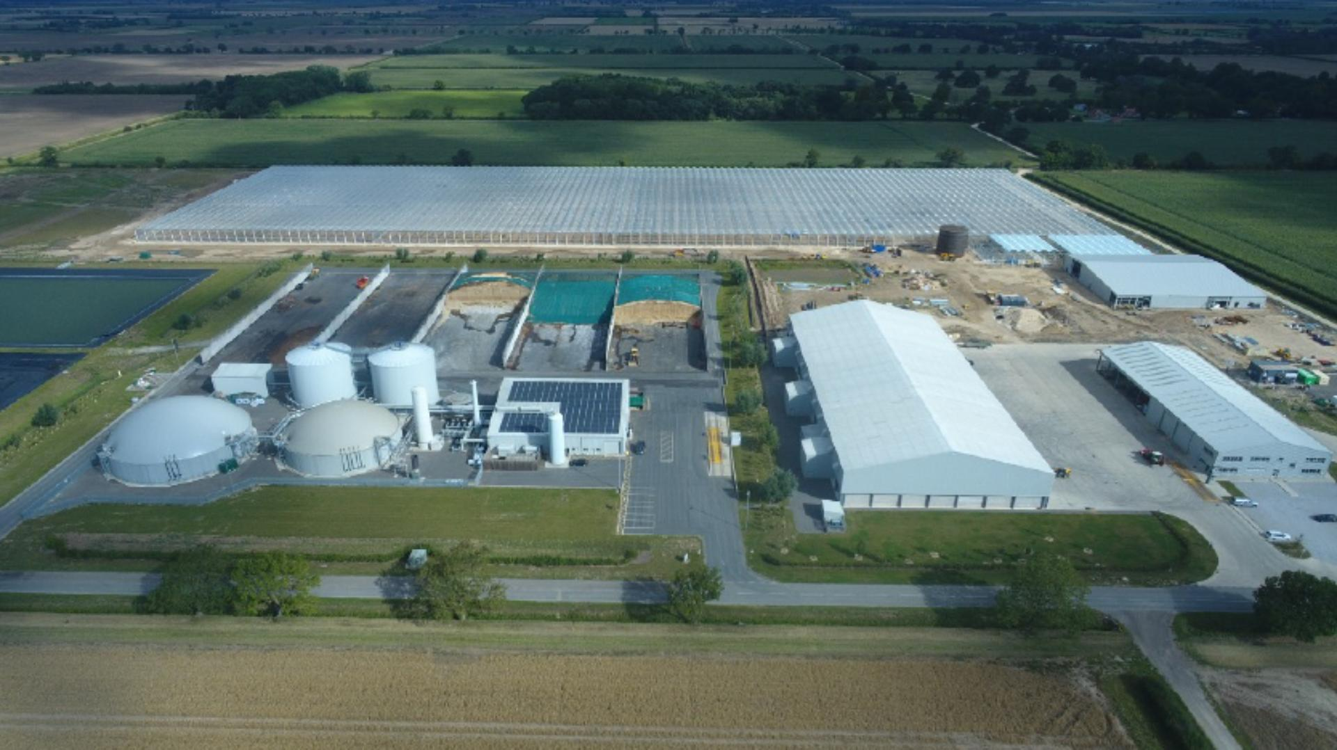 Aerial view of the anaerobic digester at Carrington, Lincolnshire