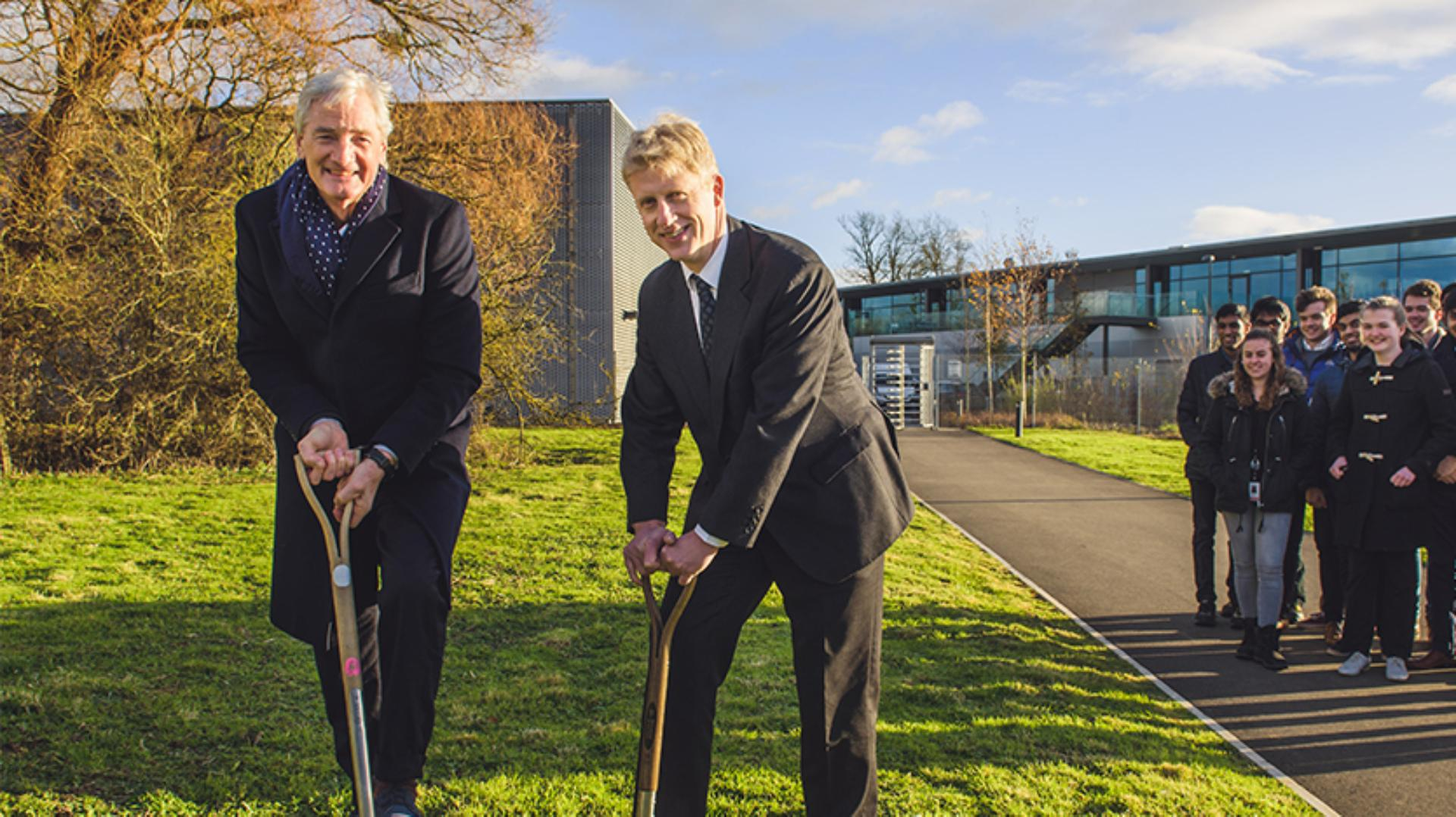 James Dyson and Jo Johnson at the breaking ground ceremony