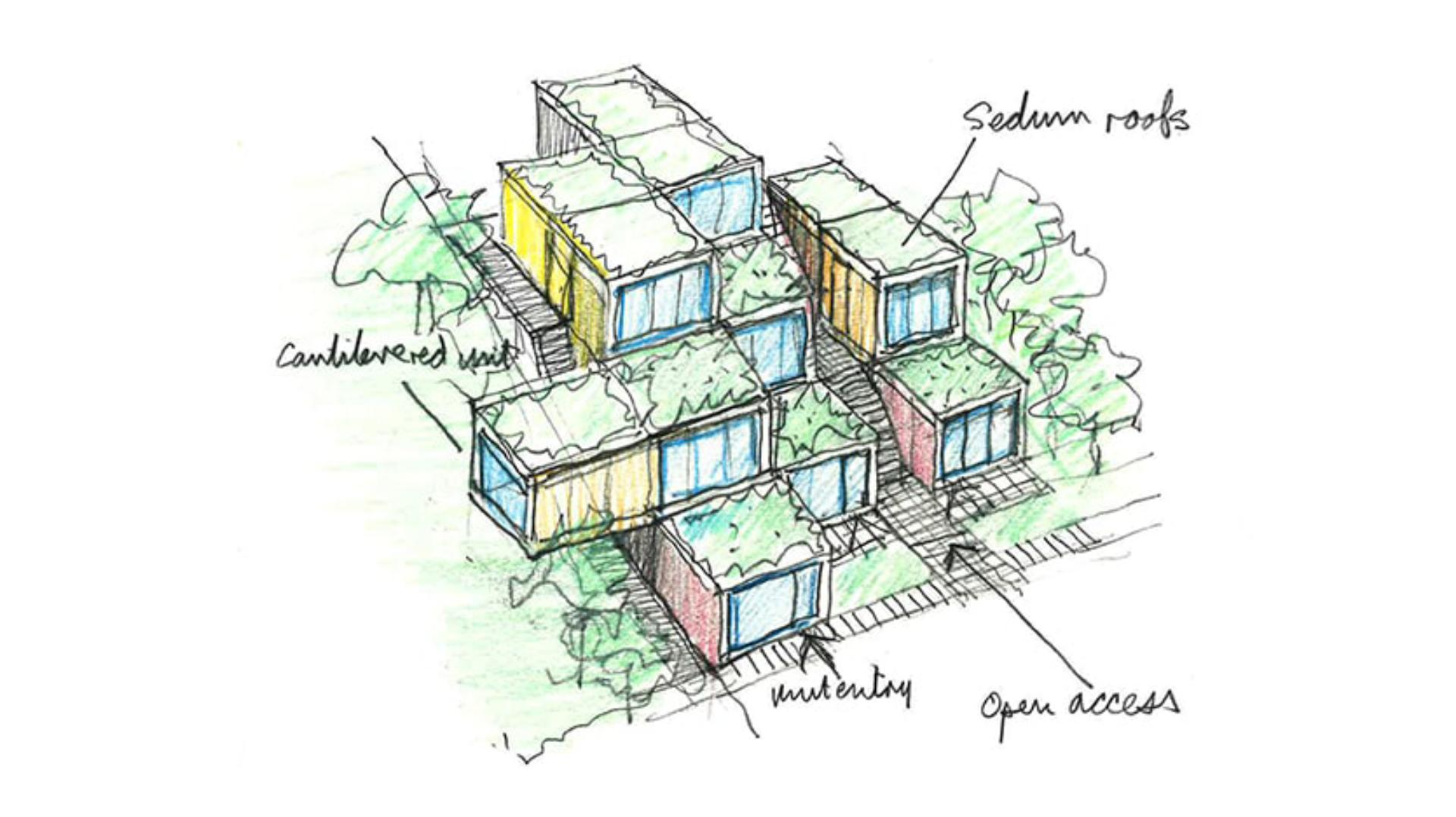 Architect designs of the accommodation 'pods'
