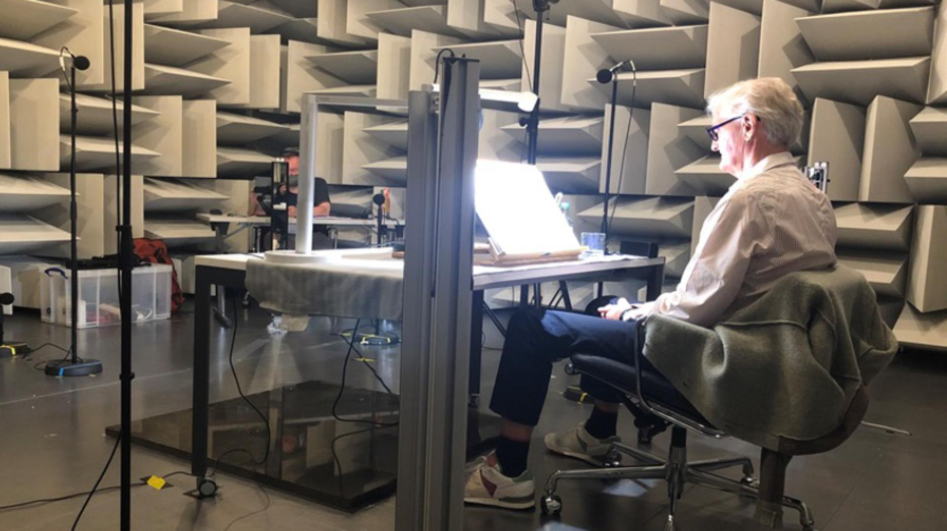 James Dyson recording the audiobook for Invention: A Life autobiography