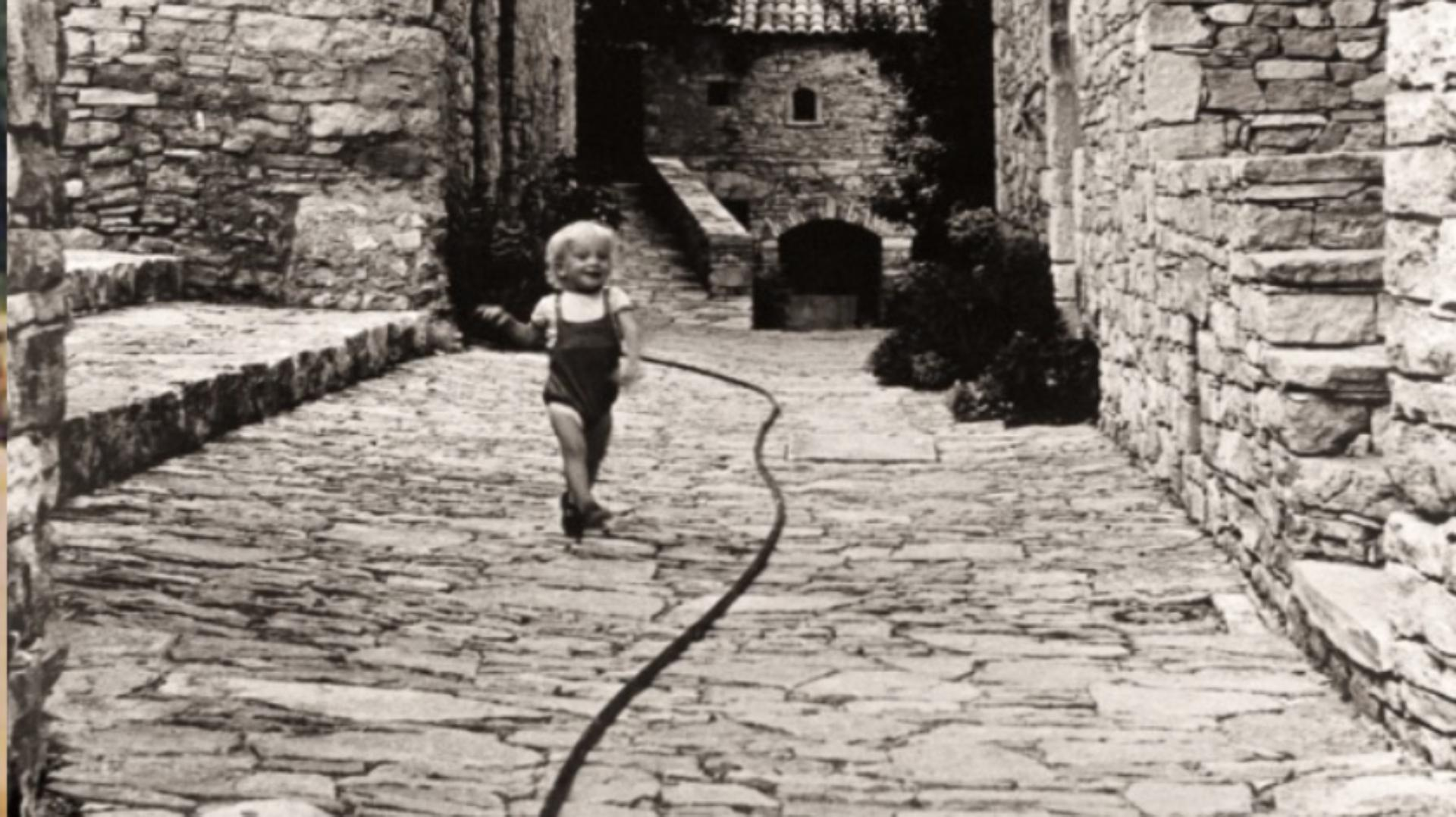 Jake Dyson, a small child, in Basses-Alpes, on a family holiday with Jeremy Fry