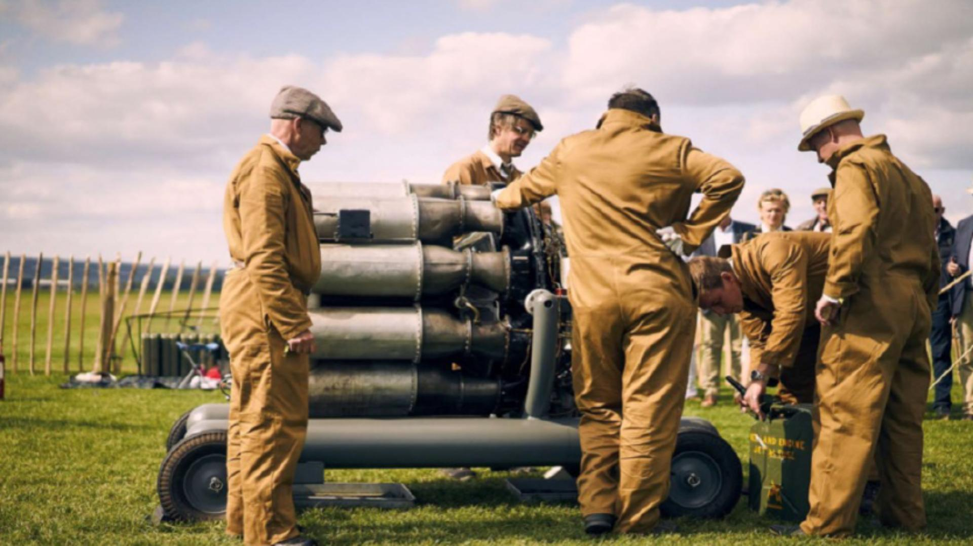 The restored Whittle jet engine on display at the Goodwood Revival event