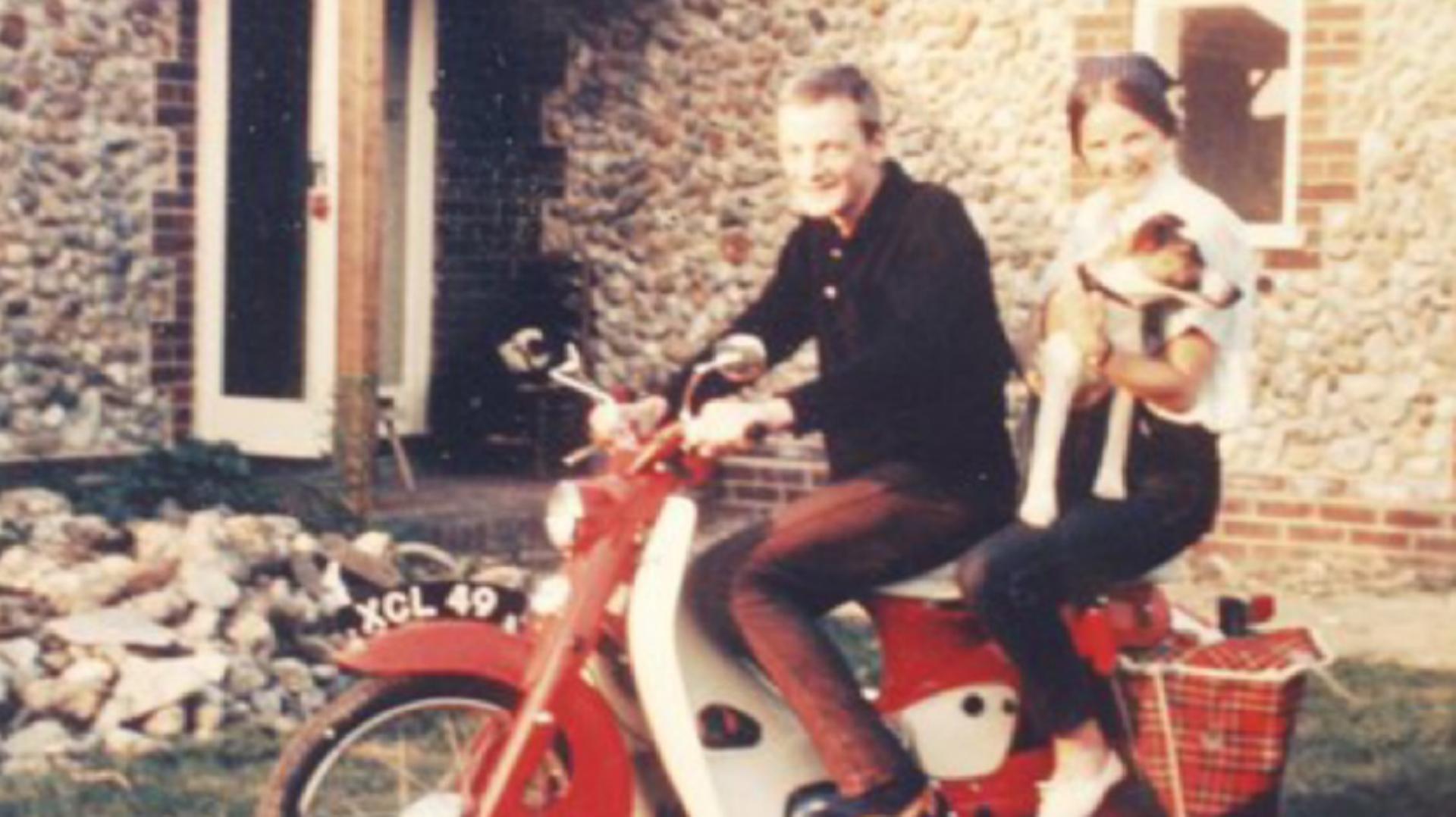 James Dyson and sister Shanie Dyson, sitting on a Honda 50