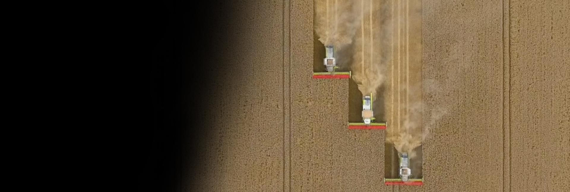 Aerial shot of harvesting the Dyson Farming fields