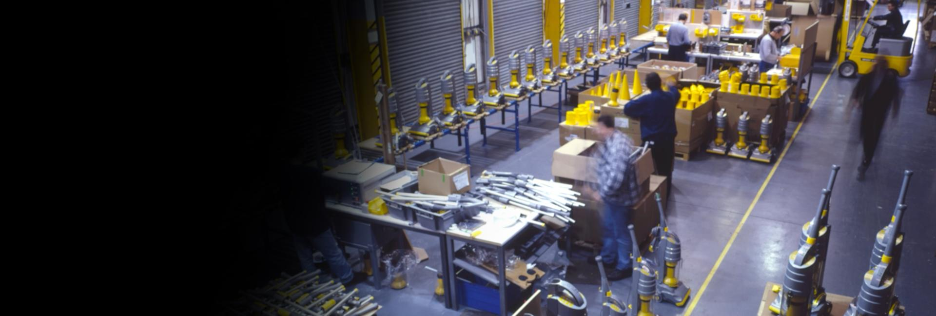 View of the DCO1 production line showing Dyson machines