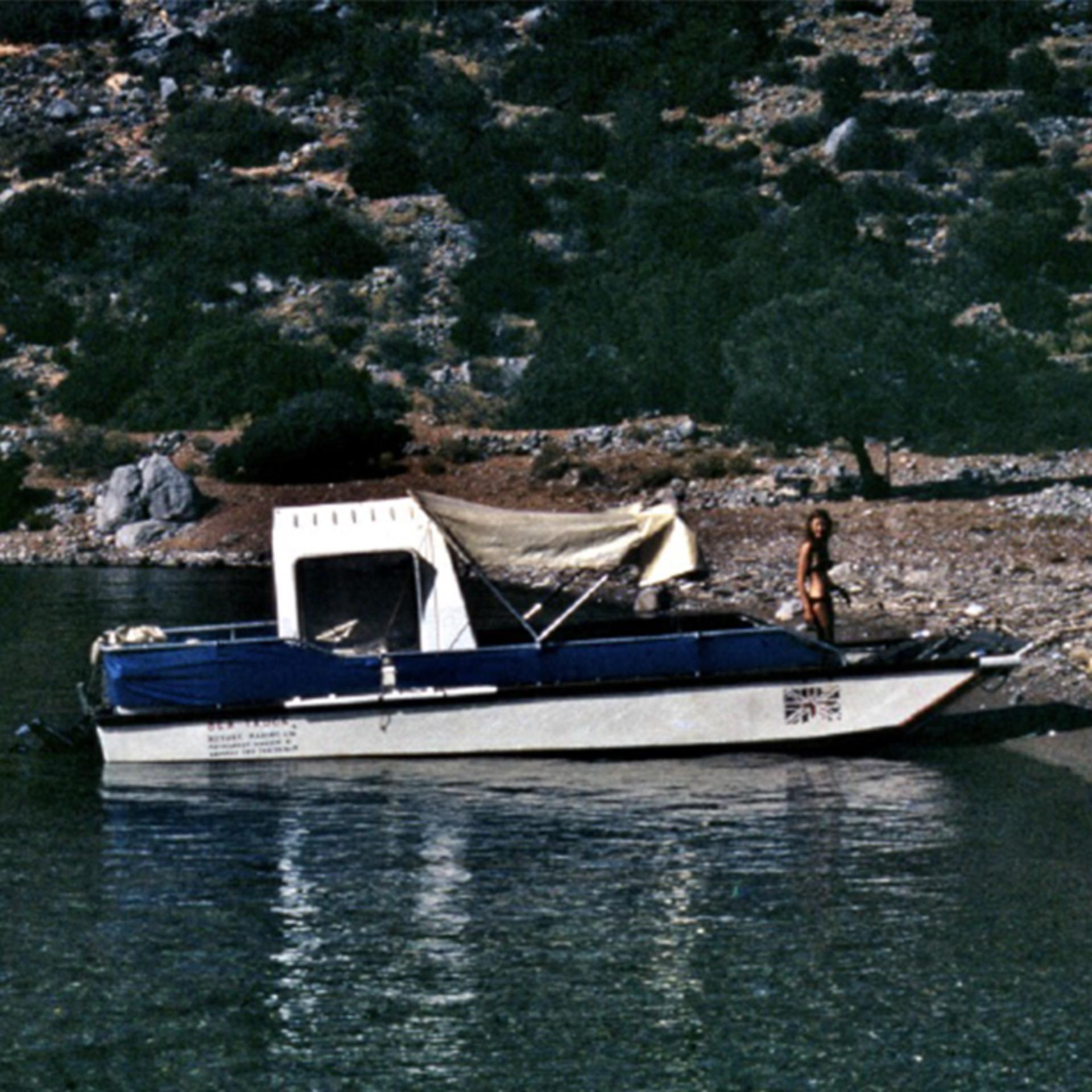 Deirdre Dyson onboard a Sea Truck in Hydra