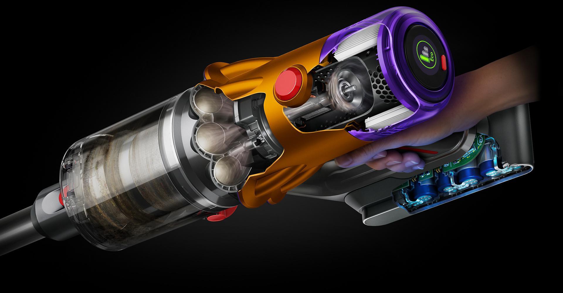 Przekrój odkurzacza Dyson V12 Slim