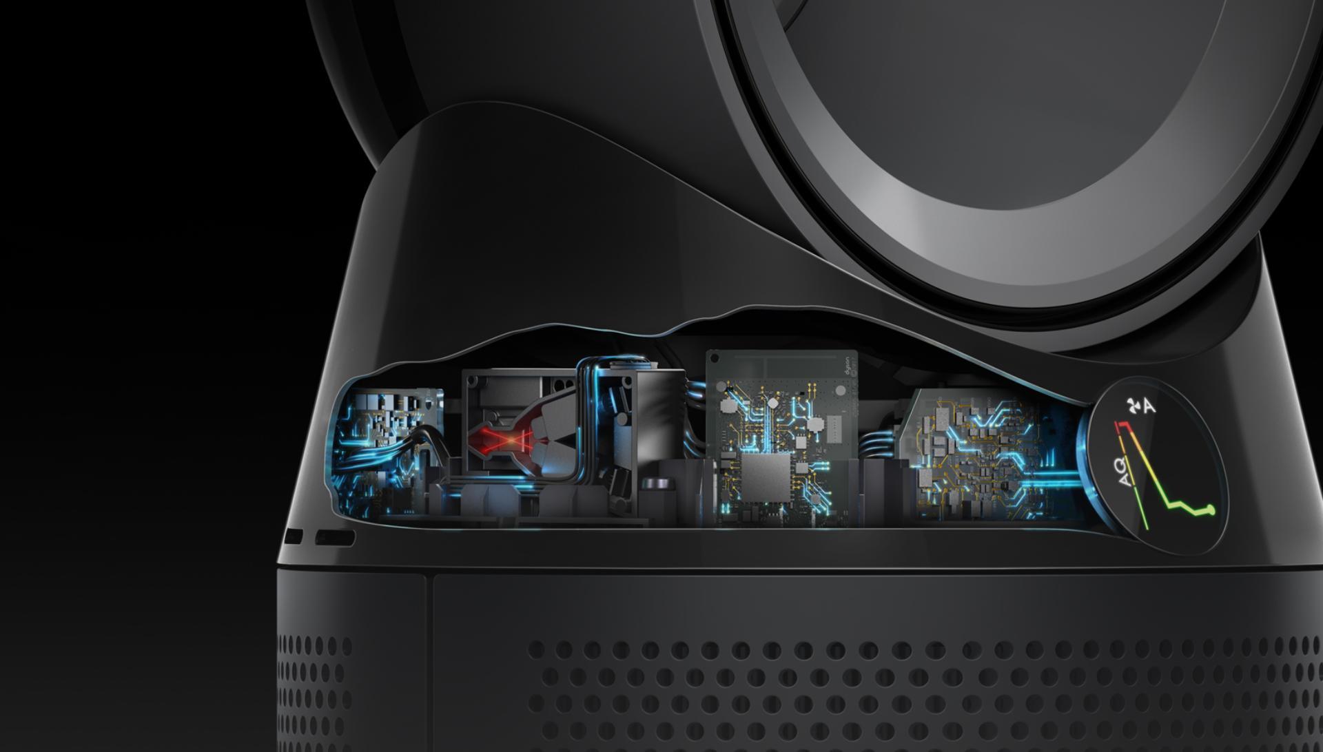 Dyson Pure Hot+Cool Havayı Temizleyen Fanın içinin X-ray görünümü