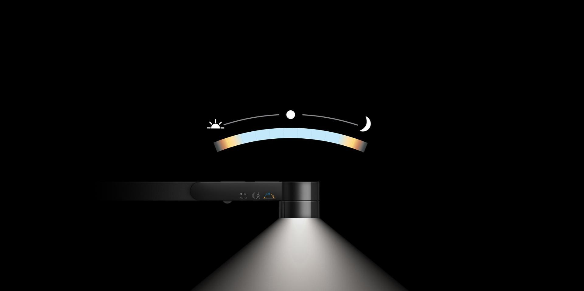 일광 변화에 따라 조절되는 다이슨 라이트 싸이클™ 조명을 보여주는 반응형 도구