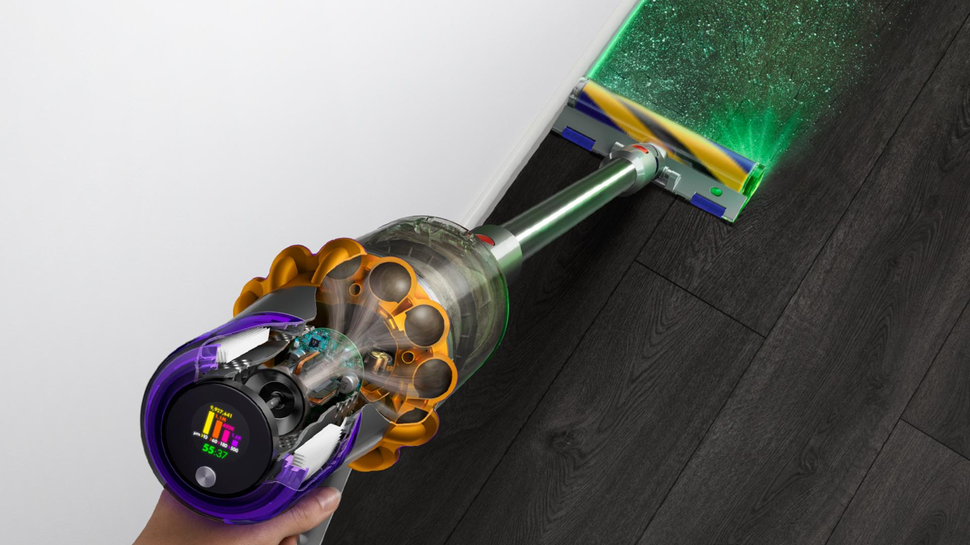 Dyson V15 Detect revealing invisible dust on floor
