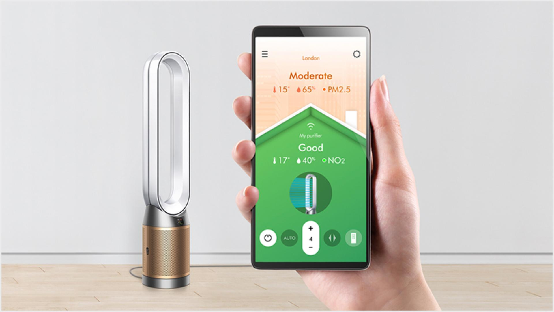 Close up of the Dyson Link app on a smart phone