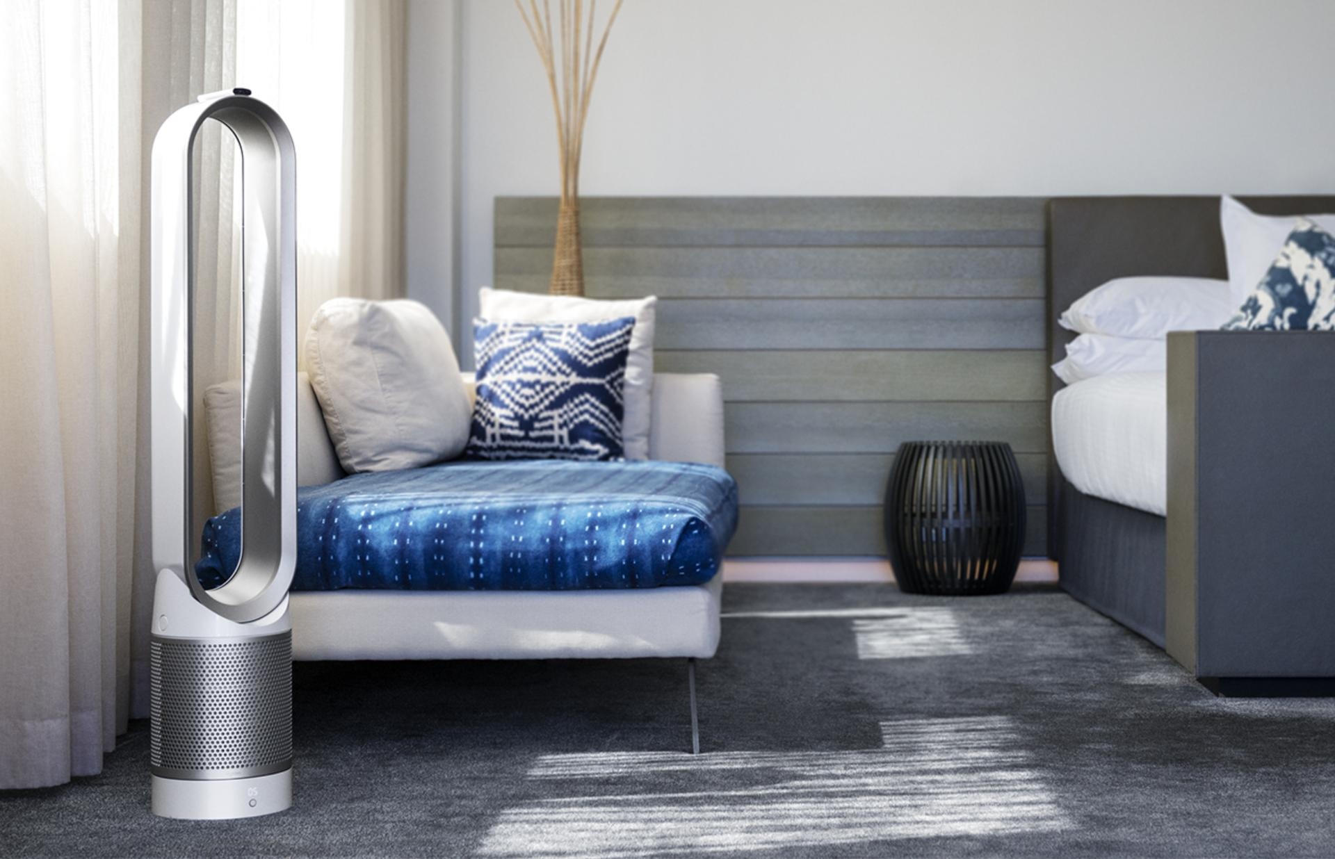 Dyson purifier in a bedroom