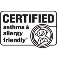 Stamp from Allergy Standards Limited showing vacuum is certified asthma and allergy friendly