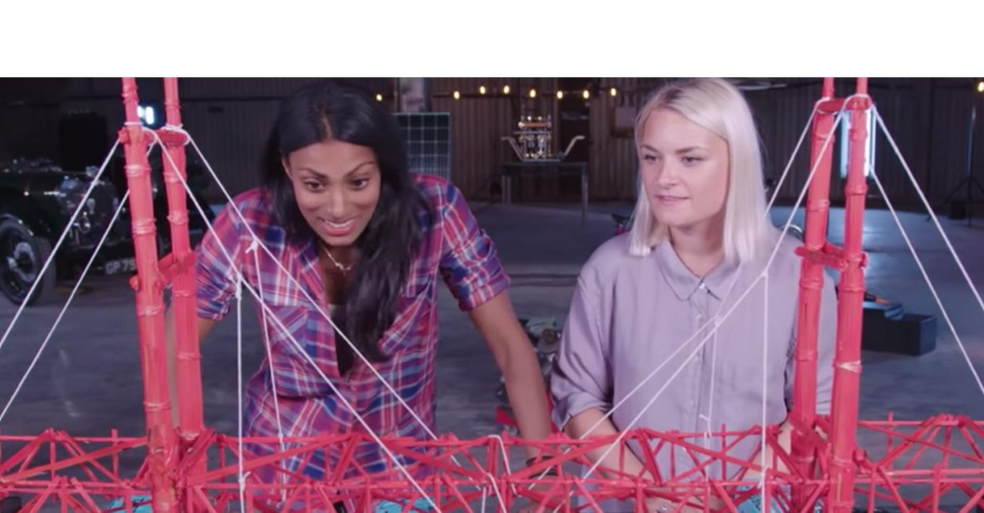 A Dyson engineer shows the spaghetti bridge challenge.