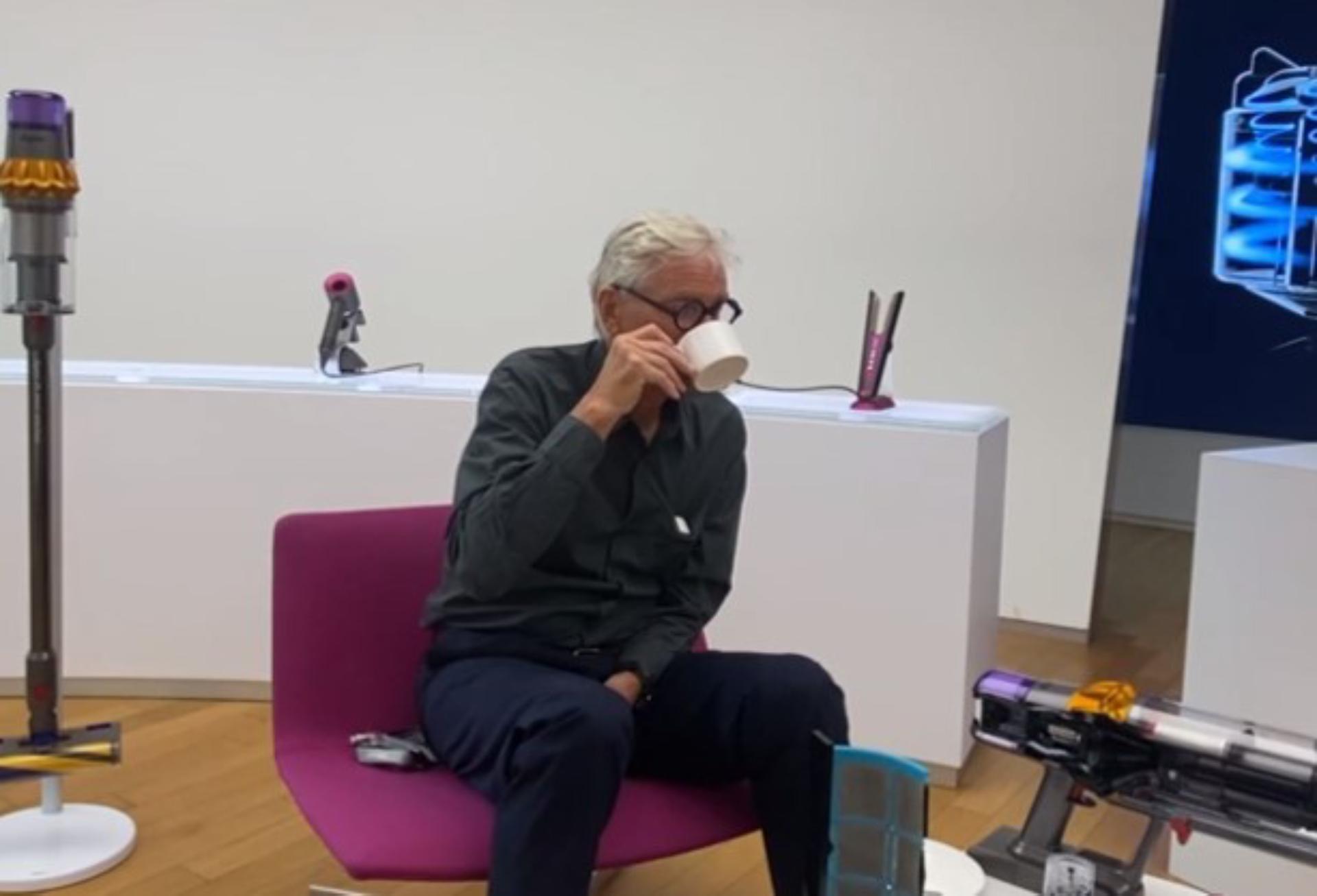 James Dyson drinking tea