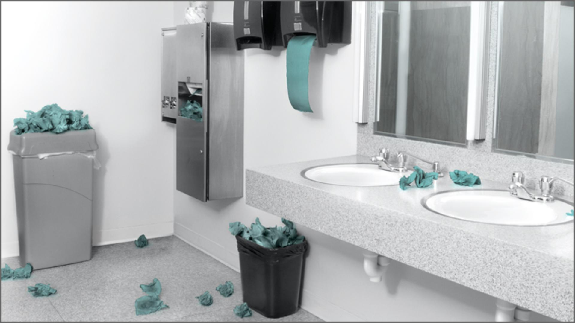 Image shows a washroom covered in litter