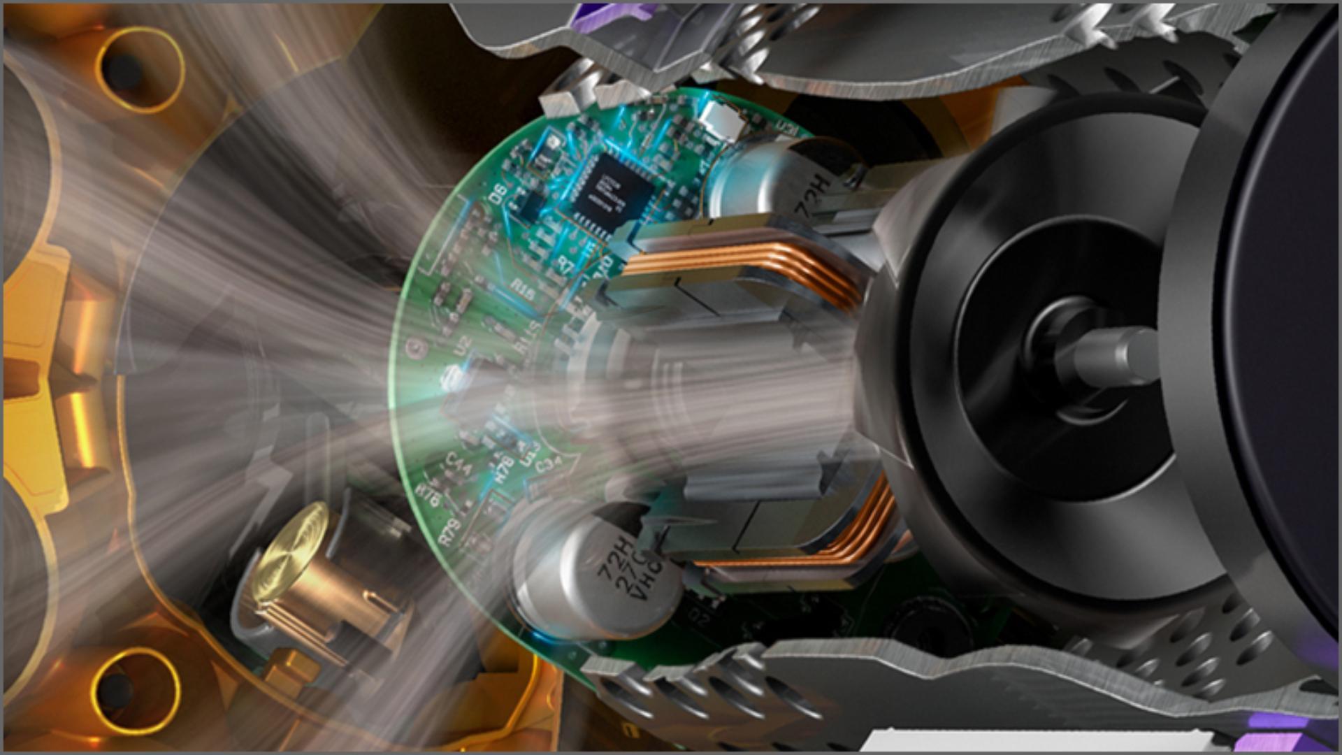 Close up of Dyson Hyperdymium motor