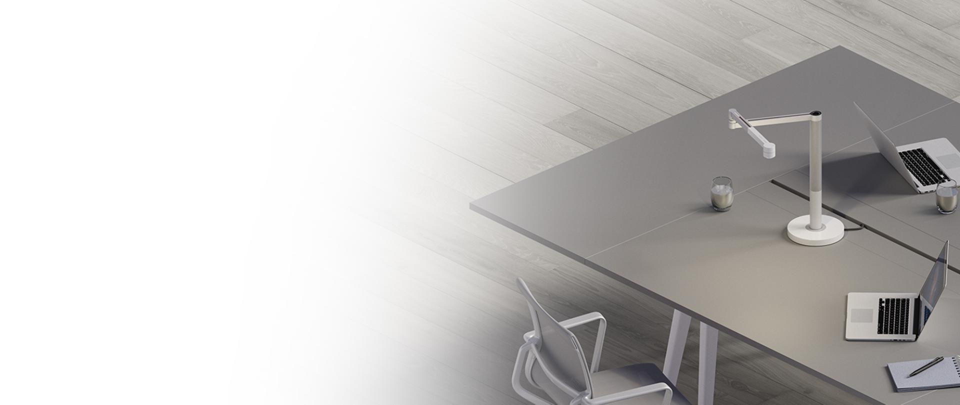 Dyson light sat on desk