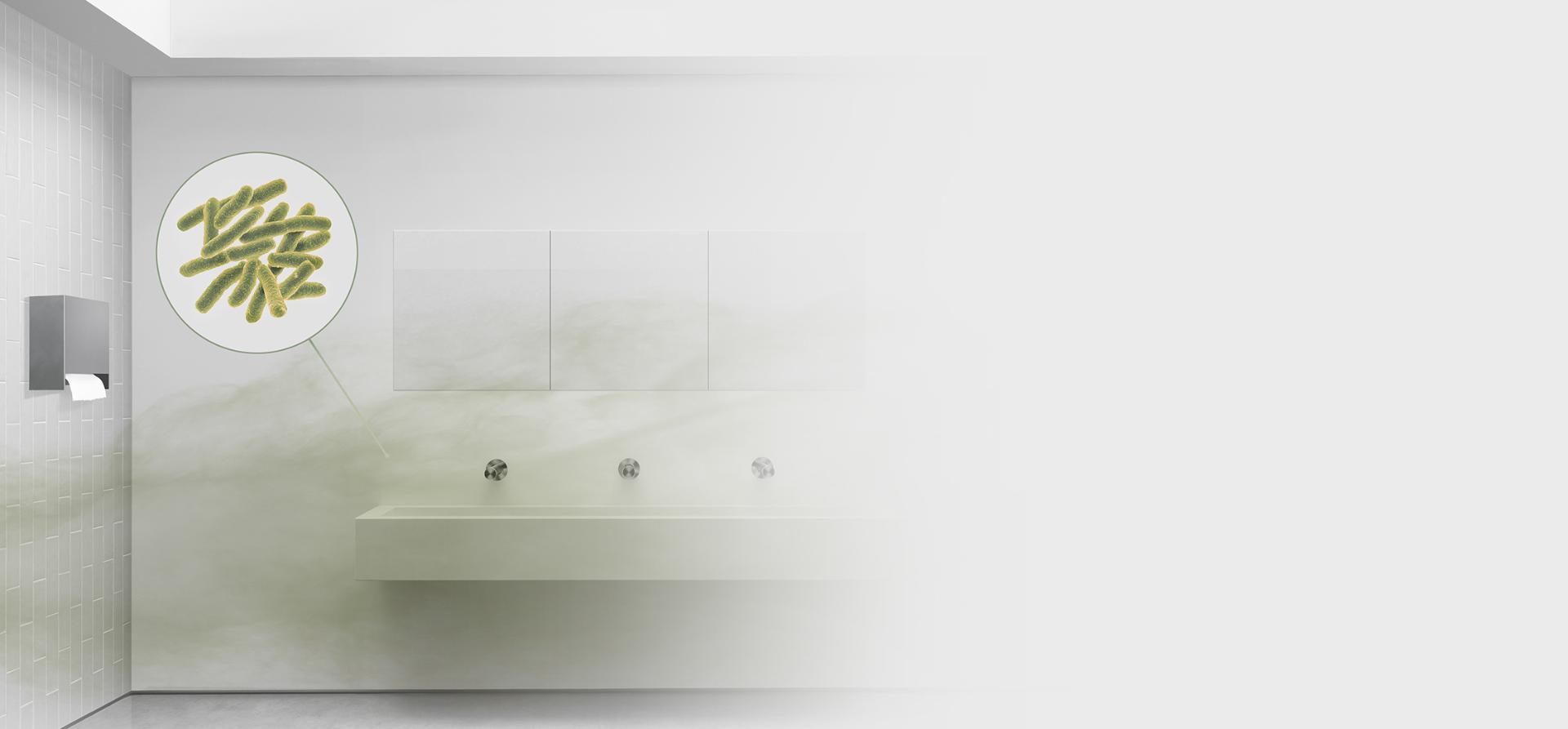 Vzduch v koupelně kontaminovaný bakteriemi