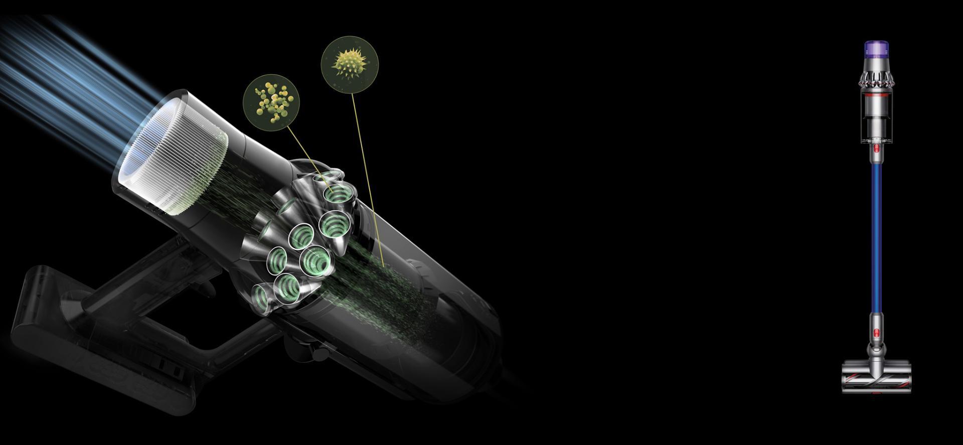 חתך מערכת הסינון בעלת ששת השלבים של שואב האבק ™Dyson V11.