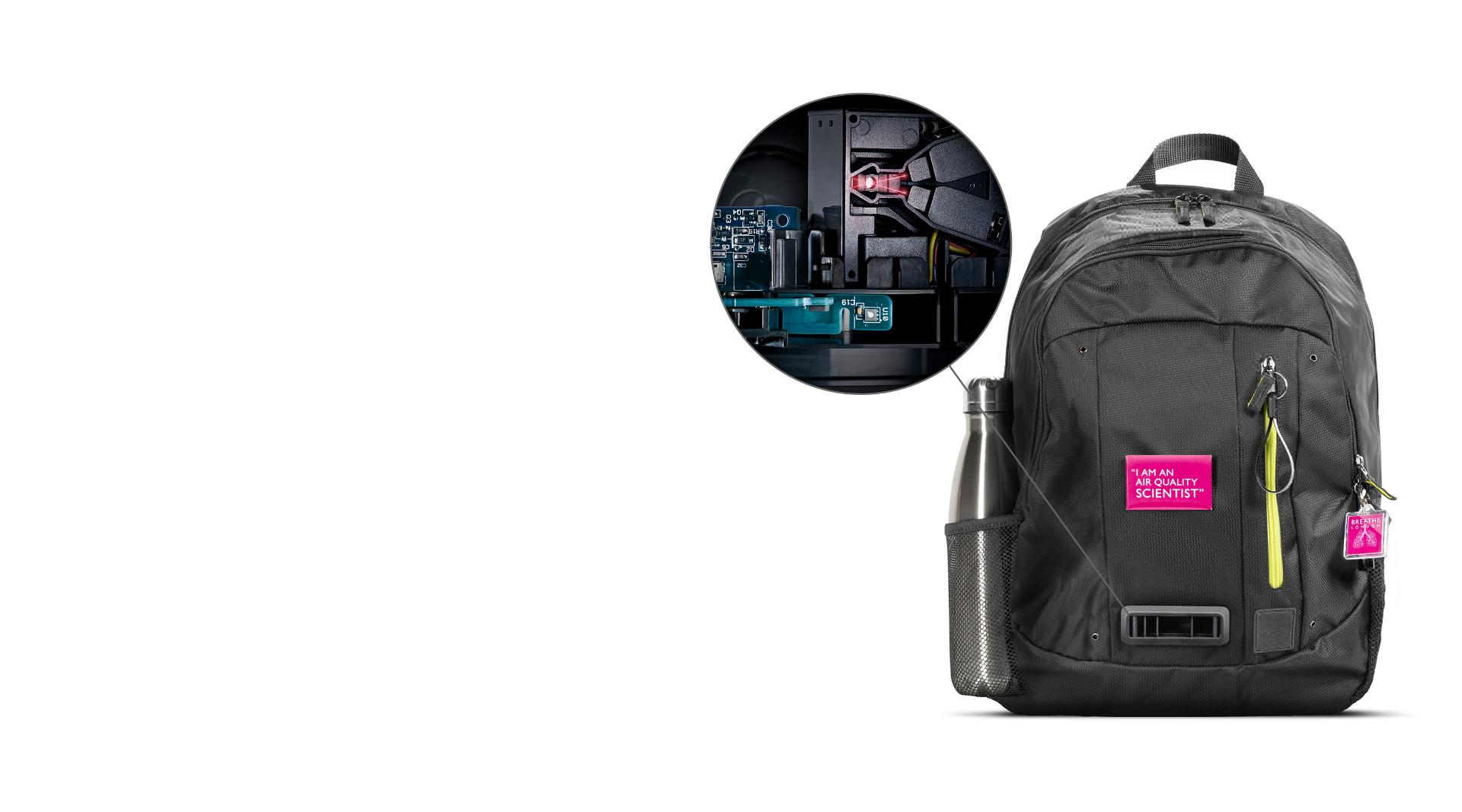 The backpack with an image showing the technology inside it