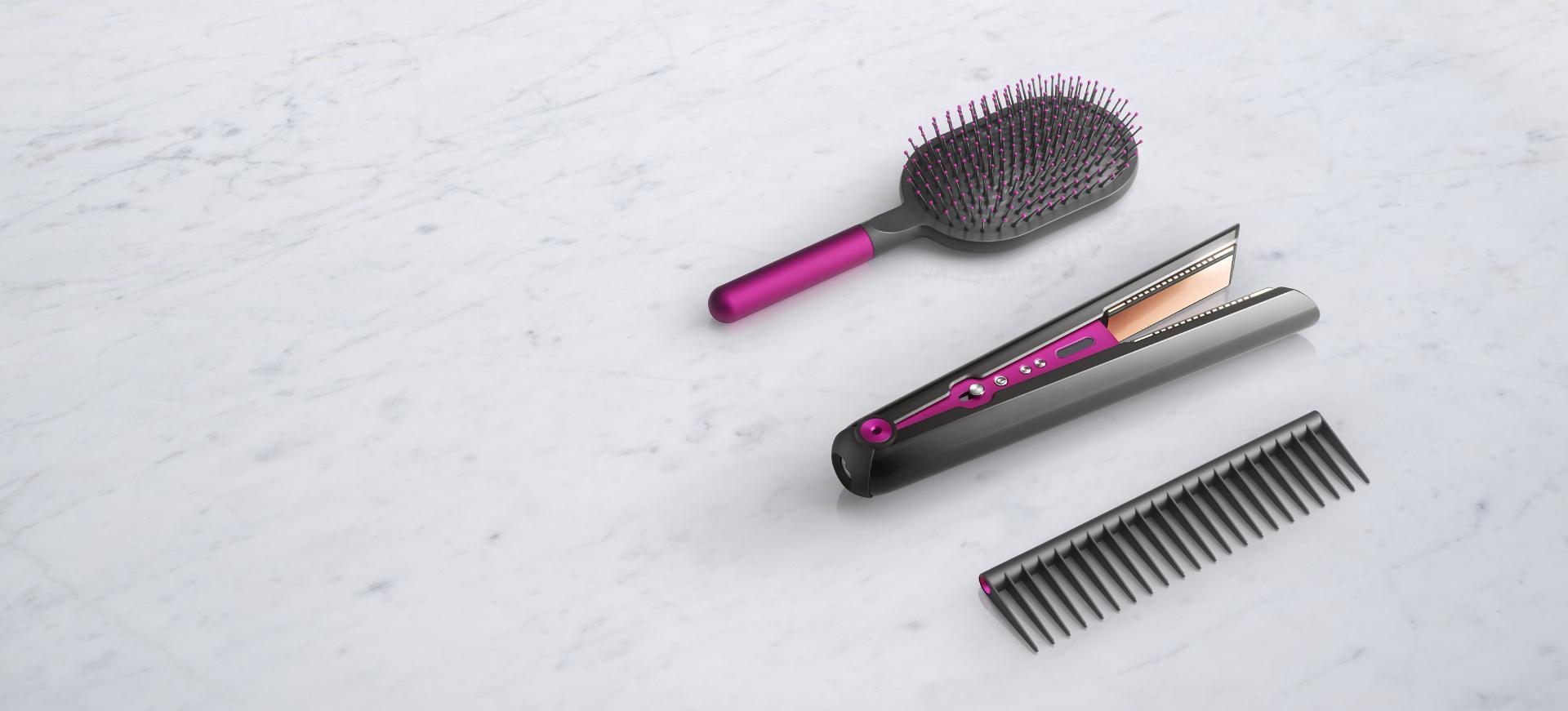 Prostownica Dyson Corrale ze szczotką do wygładzania włosów podczas stylizacji i grzebieniem ułatwiającym rozczesywanie