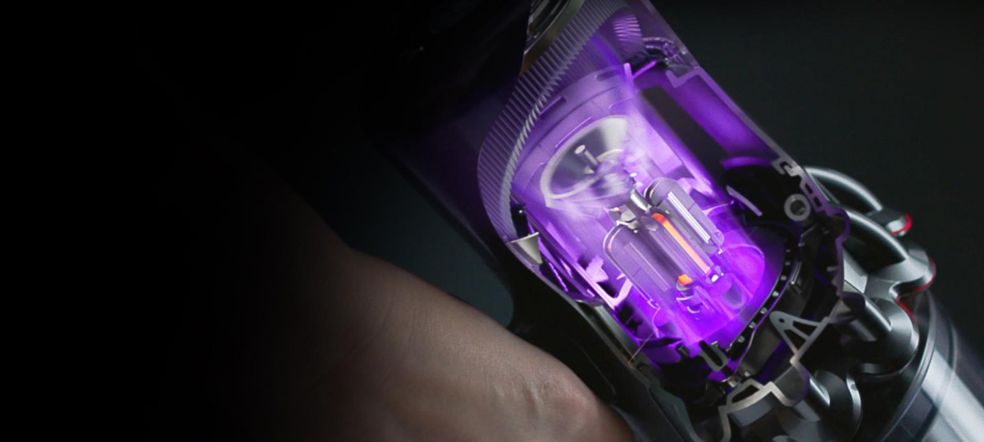 Cutaway diagram of a motor inside a Dyson Digital Slim vacuum cleaner