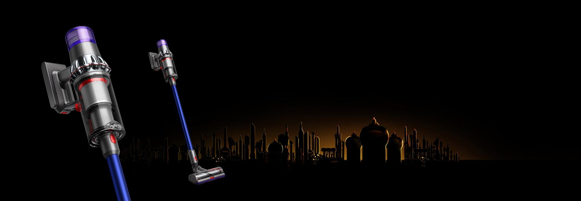 Ramadan background with Dyson V11 and V11 close up of bin
