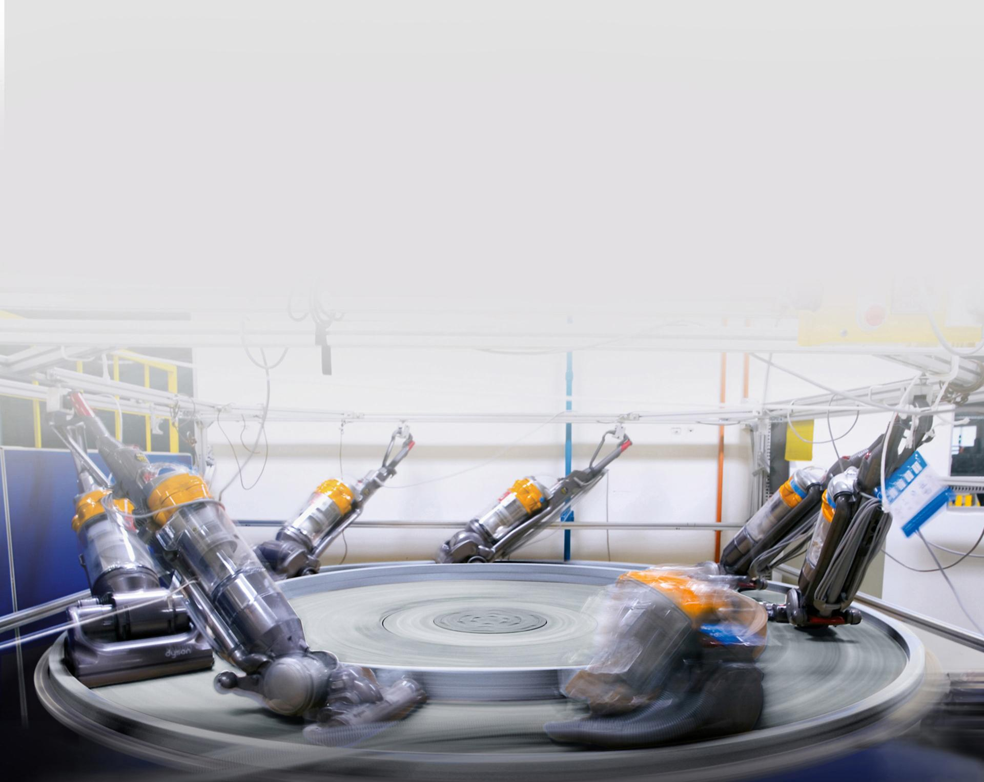 Dyson készülék szalagon történő tesztelése