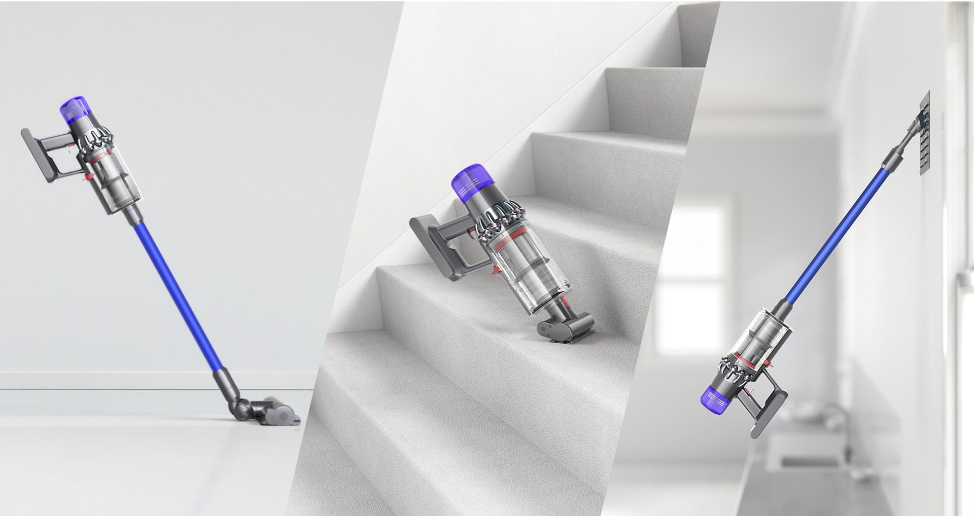 Dyson Stick vacuum being used to clean floors, stairs and vents