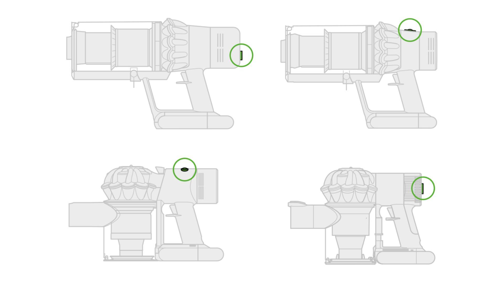 각각의 다이슨 무선 청소기의 버튼 위치를 보여주는 다이어그램